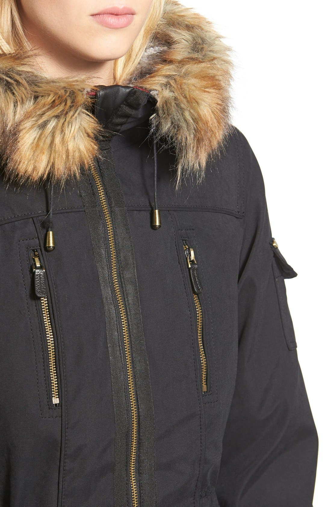 1 MADISON, Faux Fur Trim Parka, Alternate thumbnail 2, color, 001
