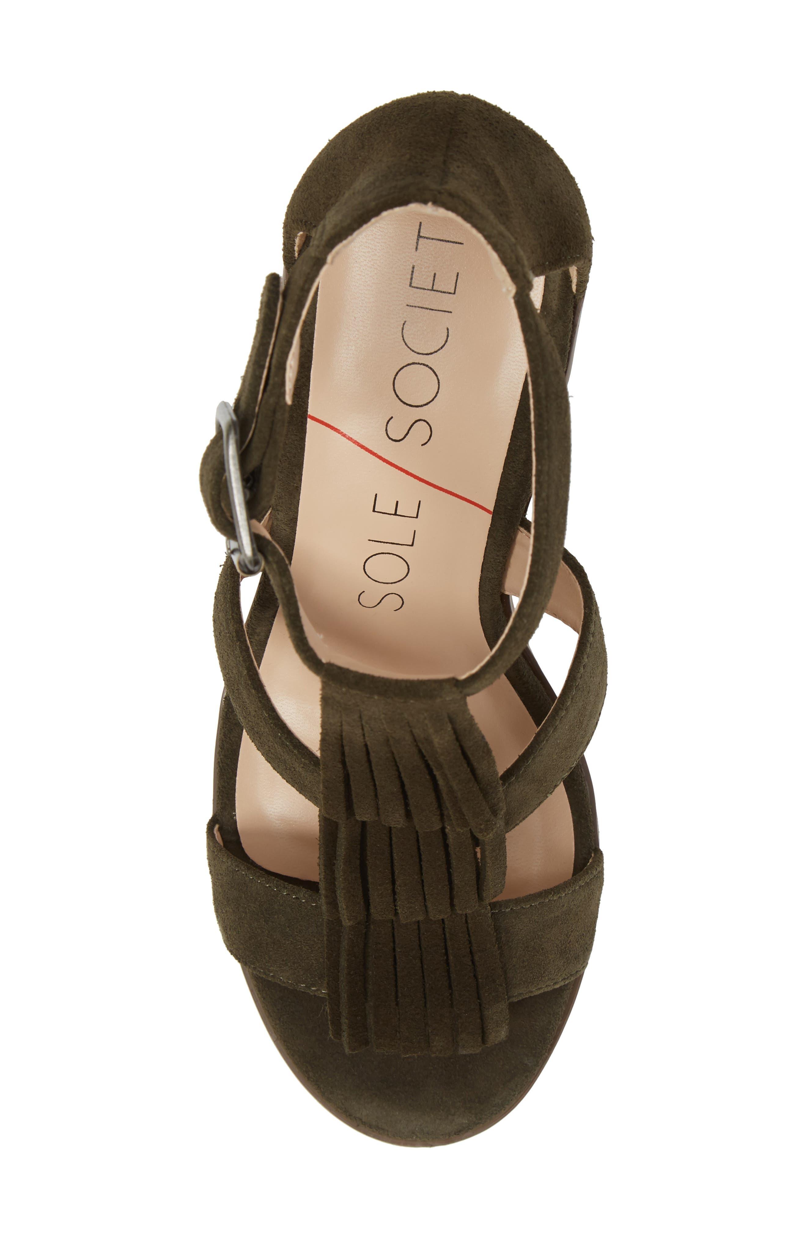 SOLE SOCIETY, 'Delilah' Fringe Sandal, Alternate thumbnail 5, color, 301