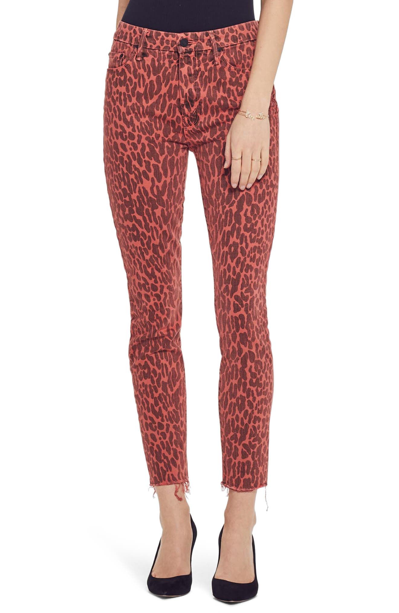 MOTHER, The Looker High Waist Fray Ankle Skinny Jeans, Main thumbnail 1, color, ANIMAL ATTRACTION