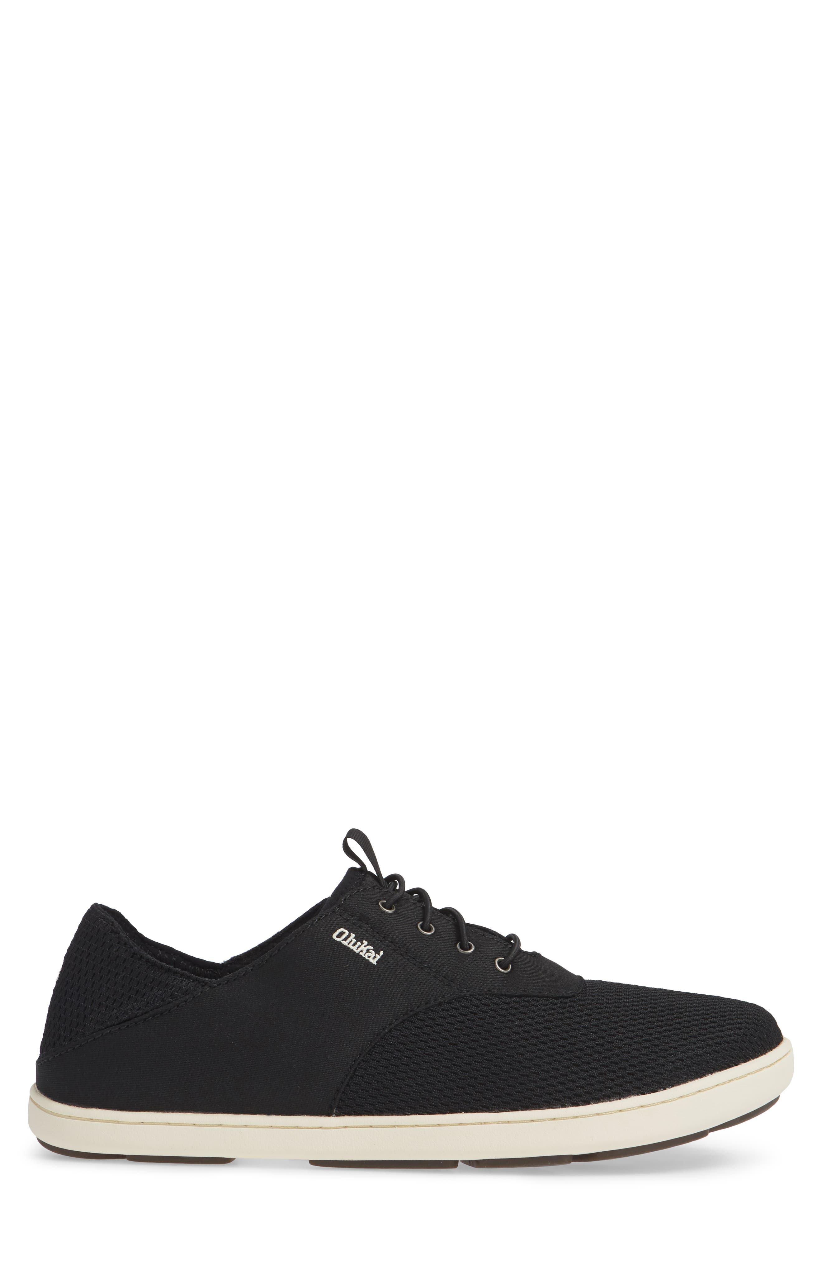 OLUKAI, Nohea Moku Sneaker, Alternate thumbnail 3, color, ONYX/ ONYX TEXTILE