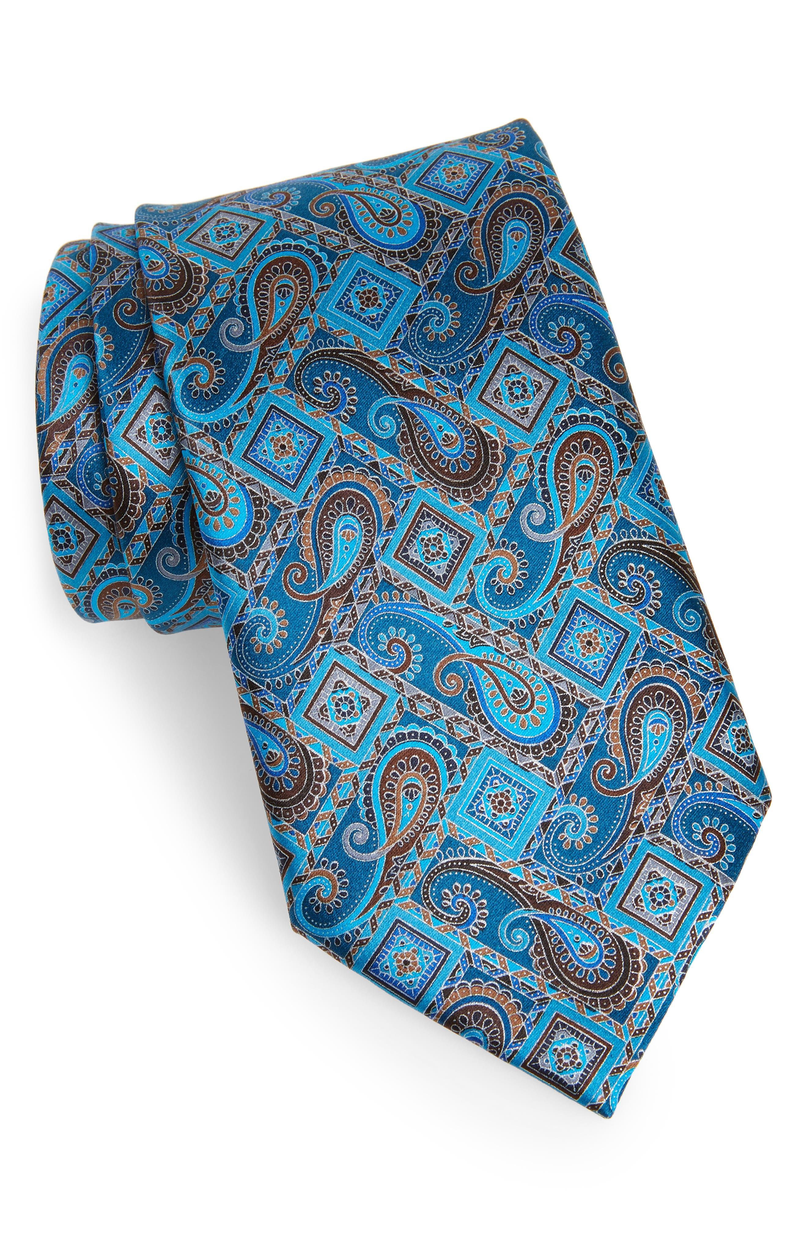 ERMENEGILDO ZEGNA, Quindici + Quindici Paisley Silk Tie, Main thumbnail 1, color, BLUE