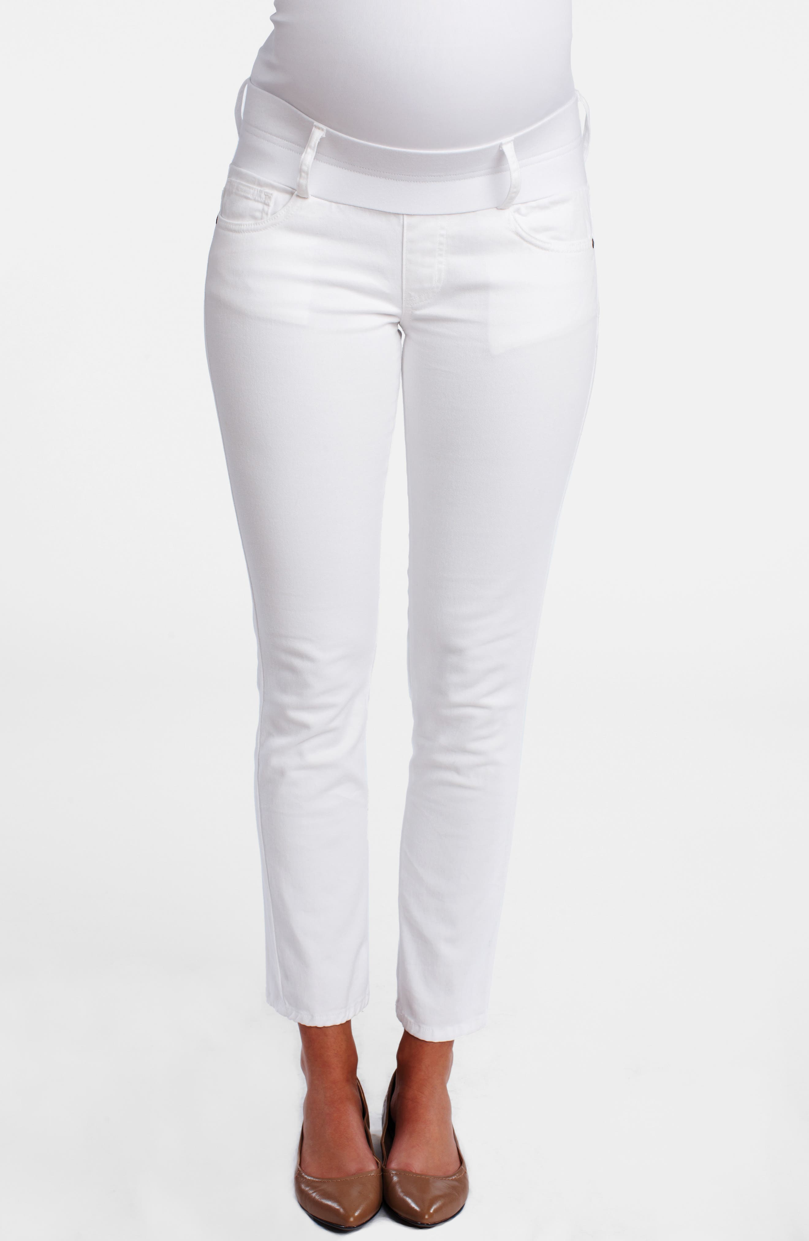 MATERNAL AMERICA, Maternity Skinny Ankle Stretch Jeans, Main thumbnail 1, color, 100