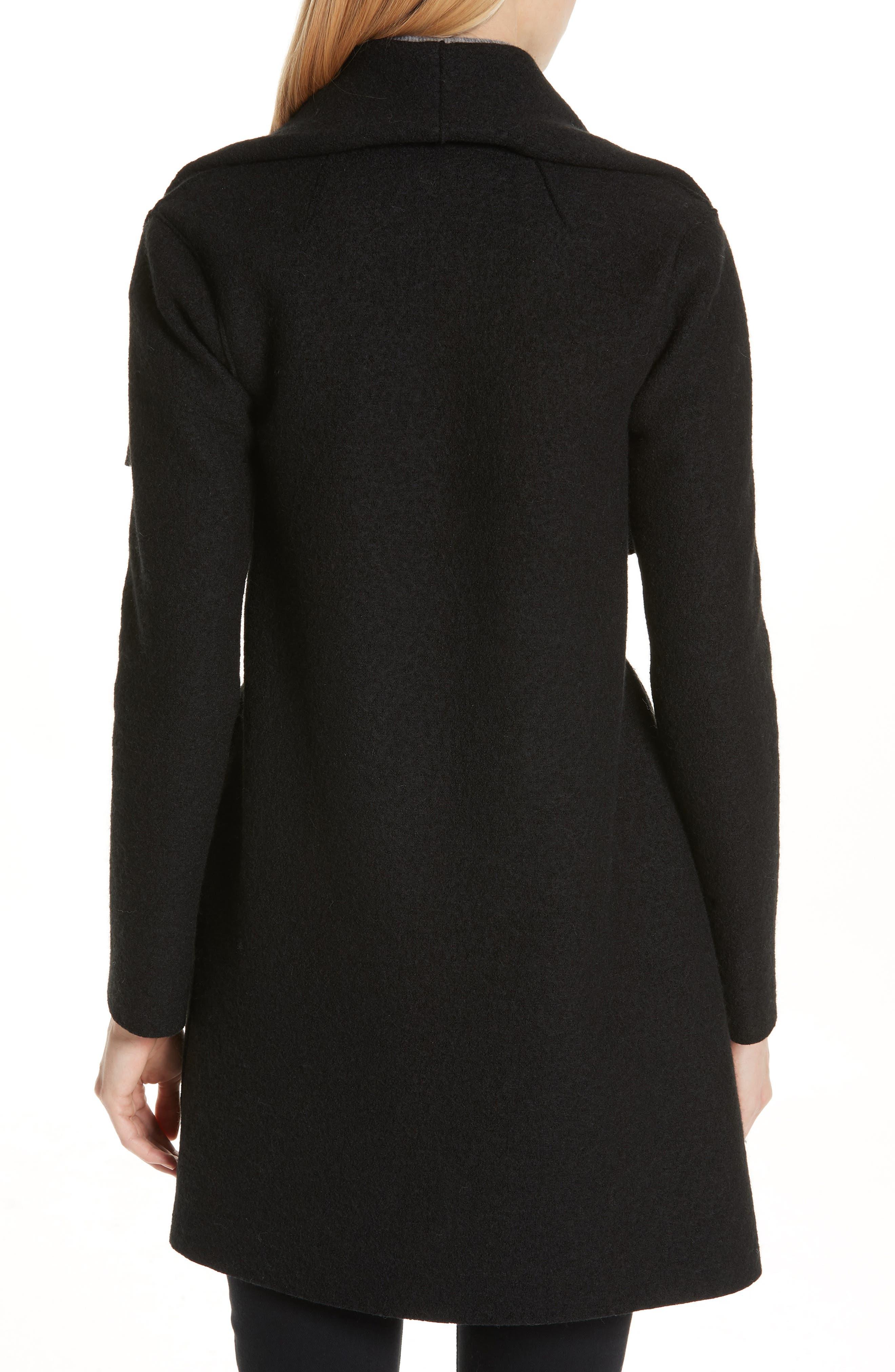HARRIS WHARF LONDON, Belted Wool Coat, Alternate thumbnail 2, color, BLACK