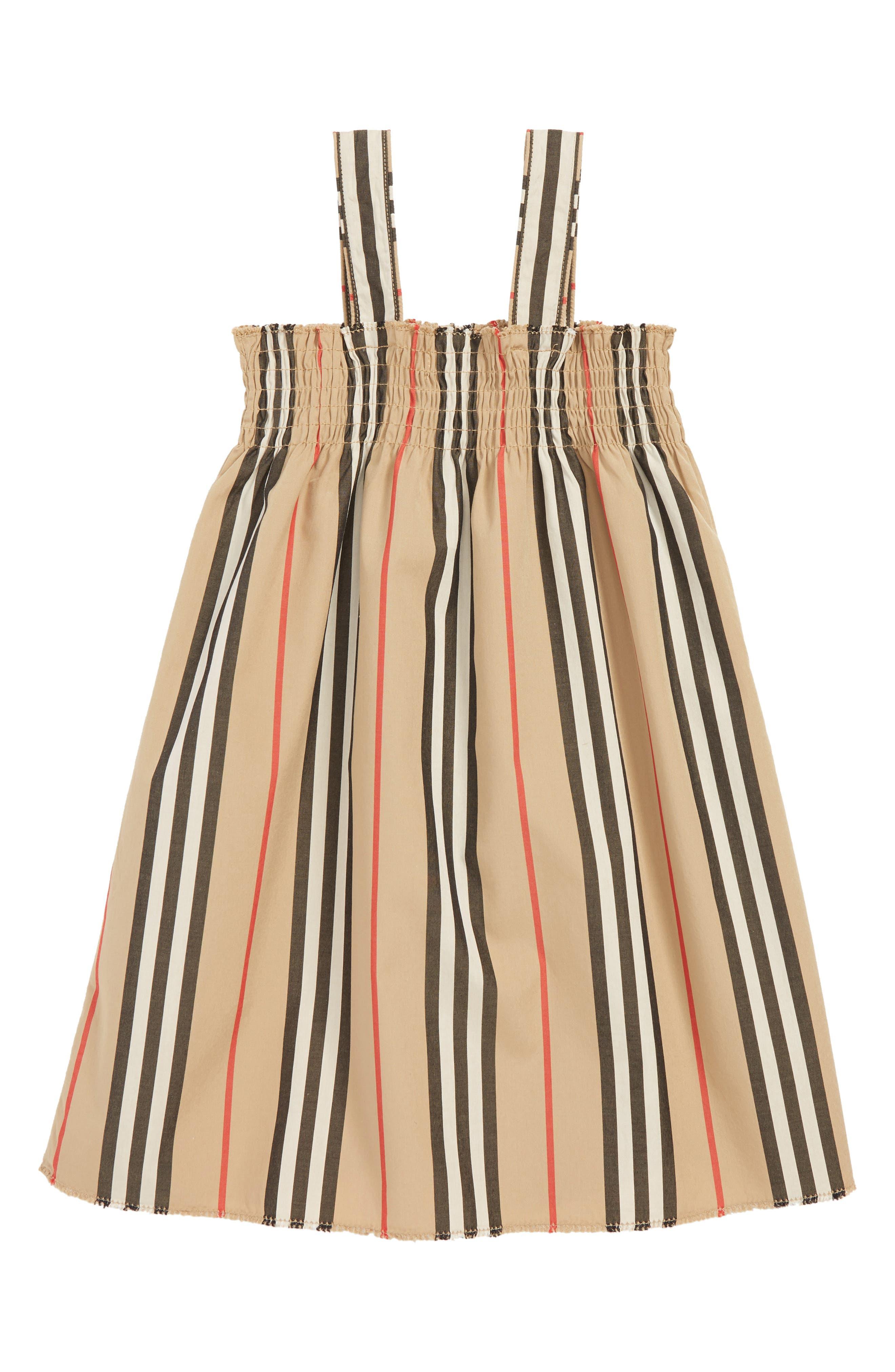 BURBERRY, Mini Junia Stripe Dress, Alternate thumbnail 2, color, BEIGE