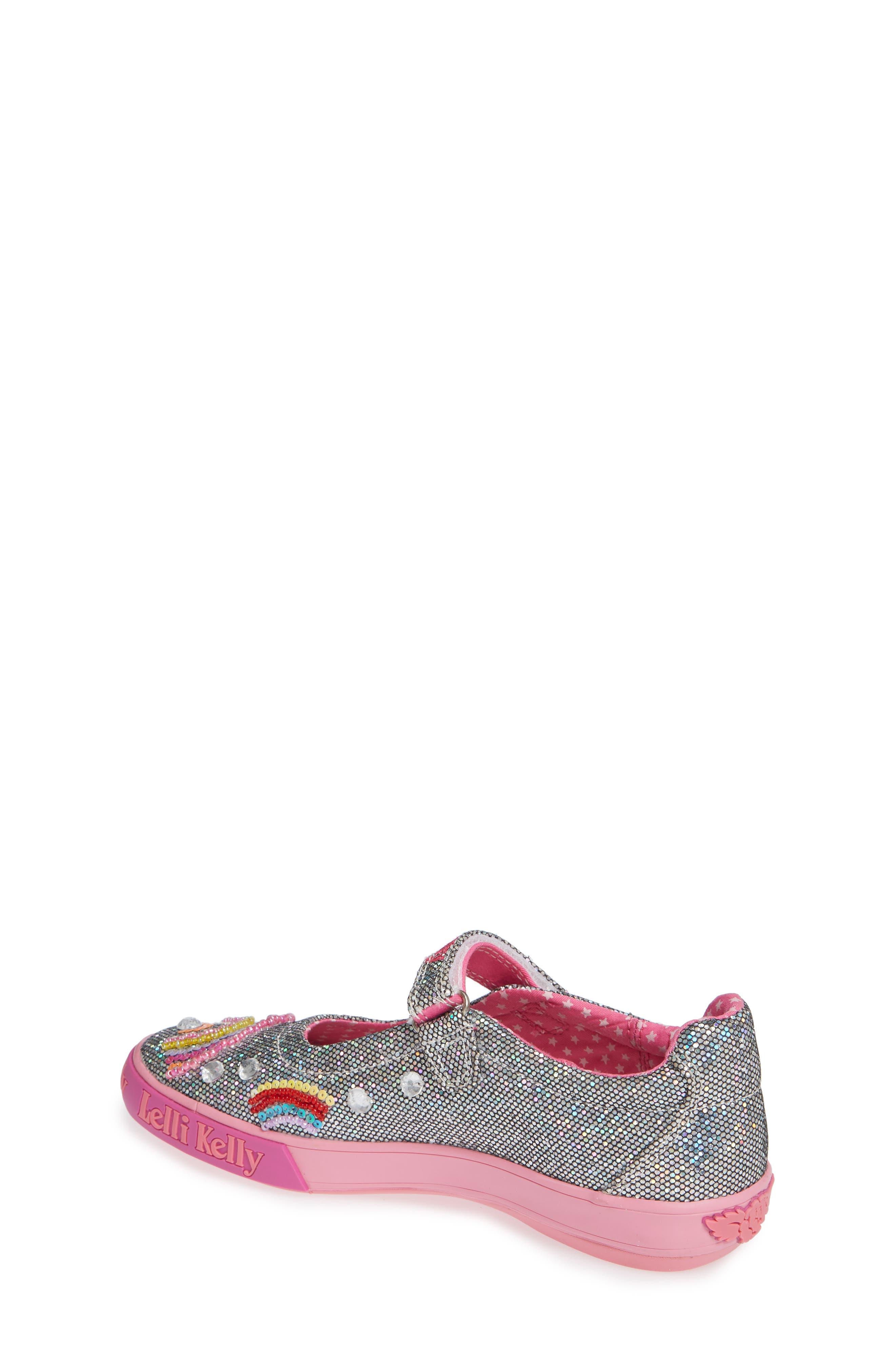 LELLI KELLY, Beaded Rainbow Mary Jane Sneaker, Alternate thumbnail 2, color, PEWTER
