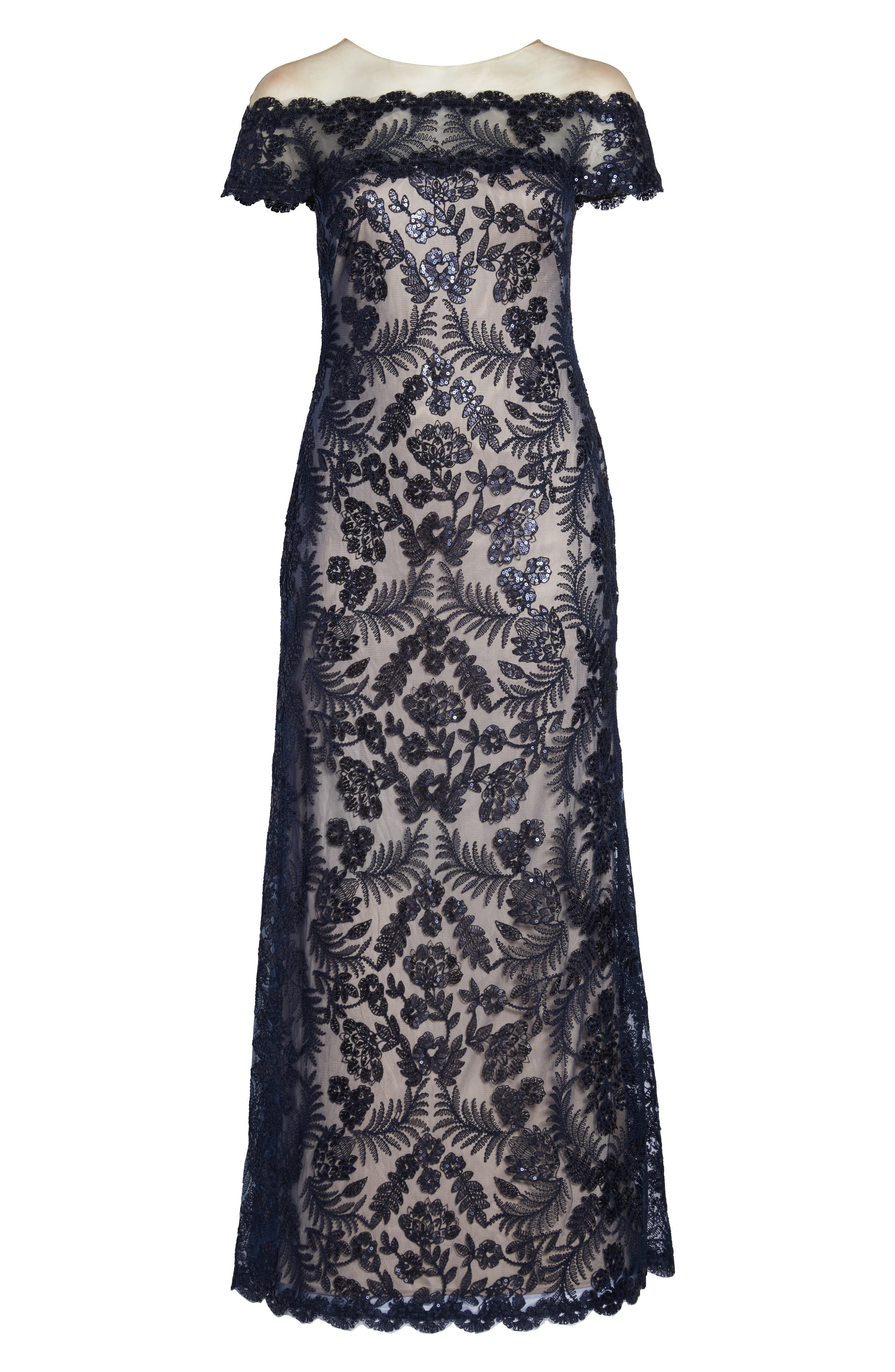 TADASHI SHOJI, Illusion Neck Sequin Lace Gown, Alternate thumbnail 13, color, 410