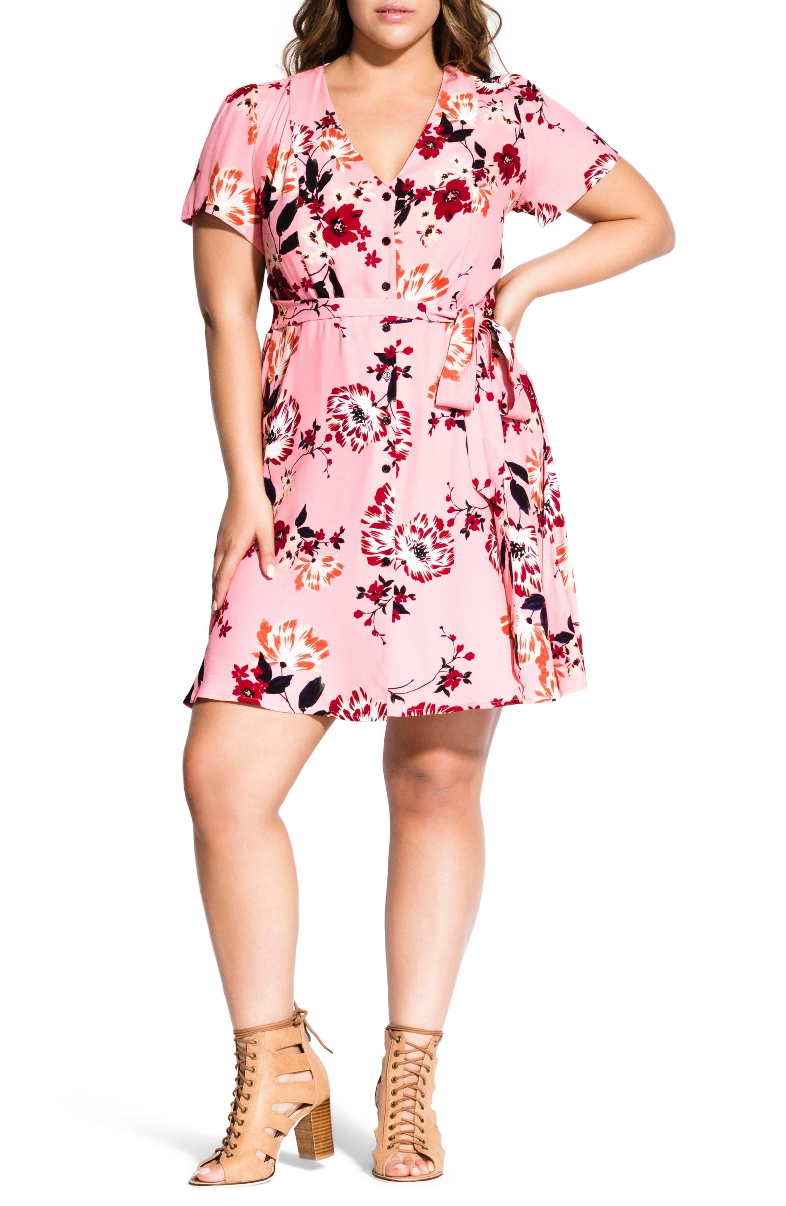 Plus Size City Chic Botanical Dress, Red