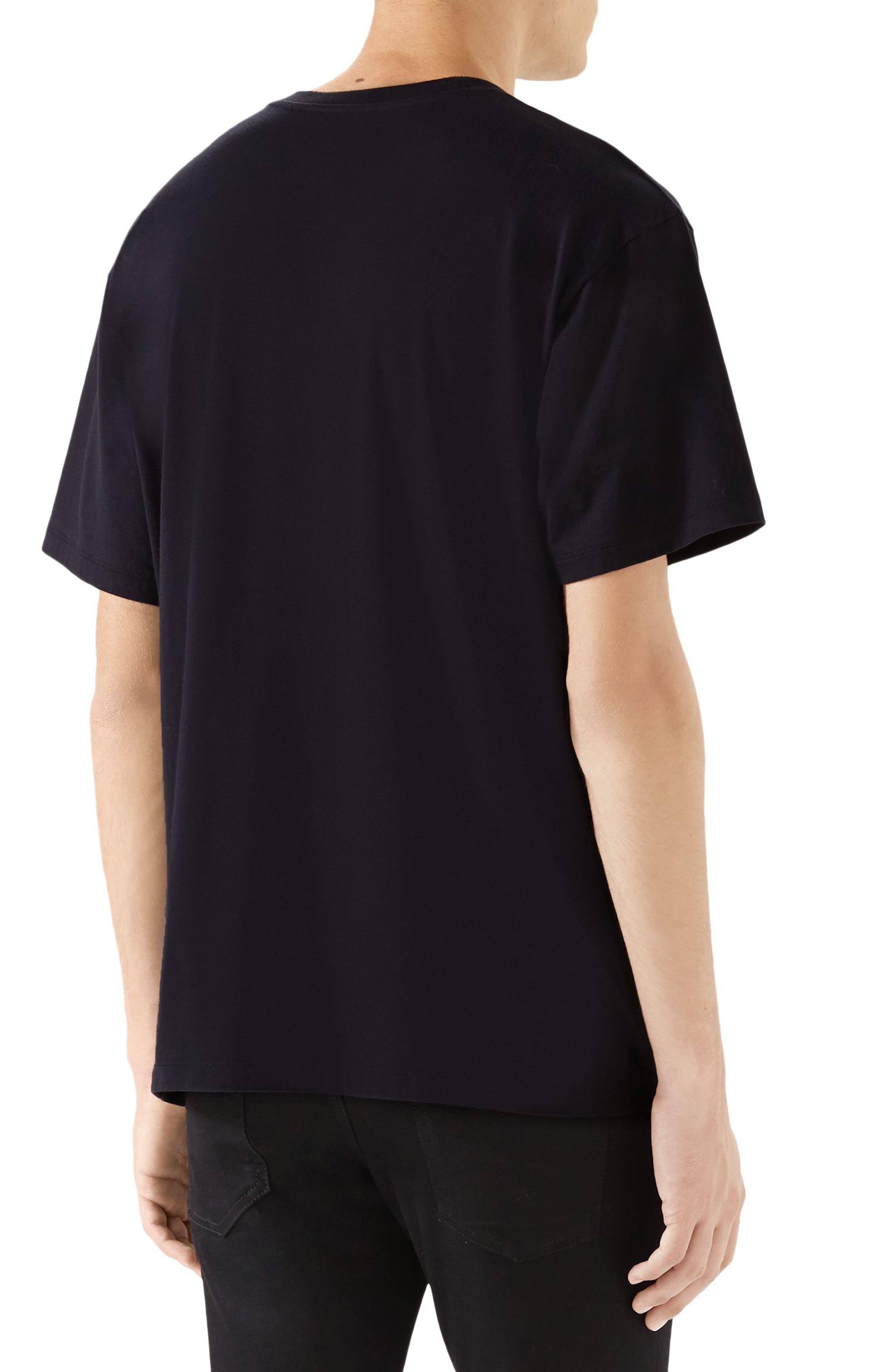 GUCCI, Iridescent Logo T-Shirt, Alternate thumbnail 2, color, BLACK MULTI