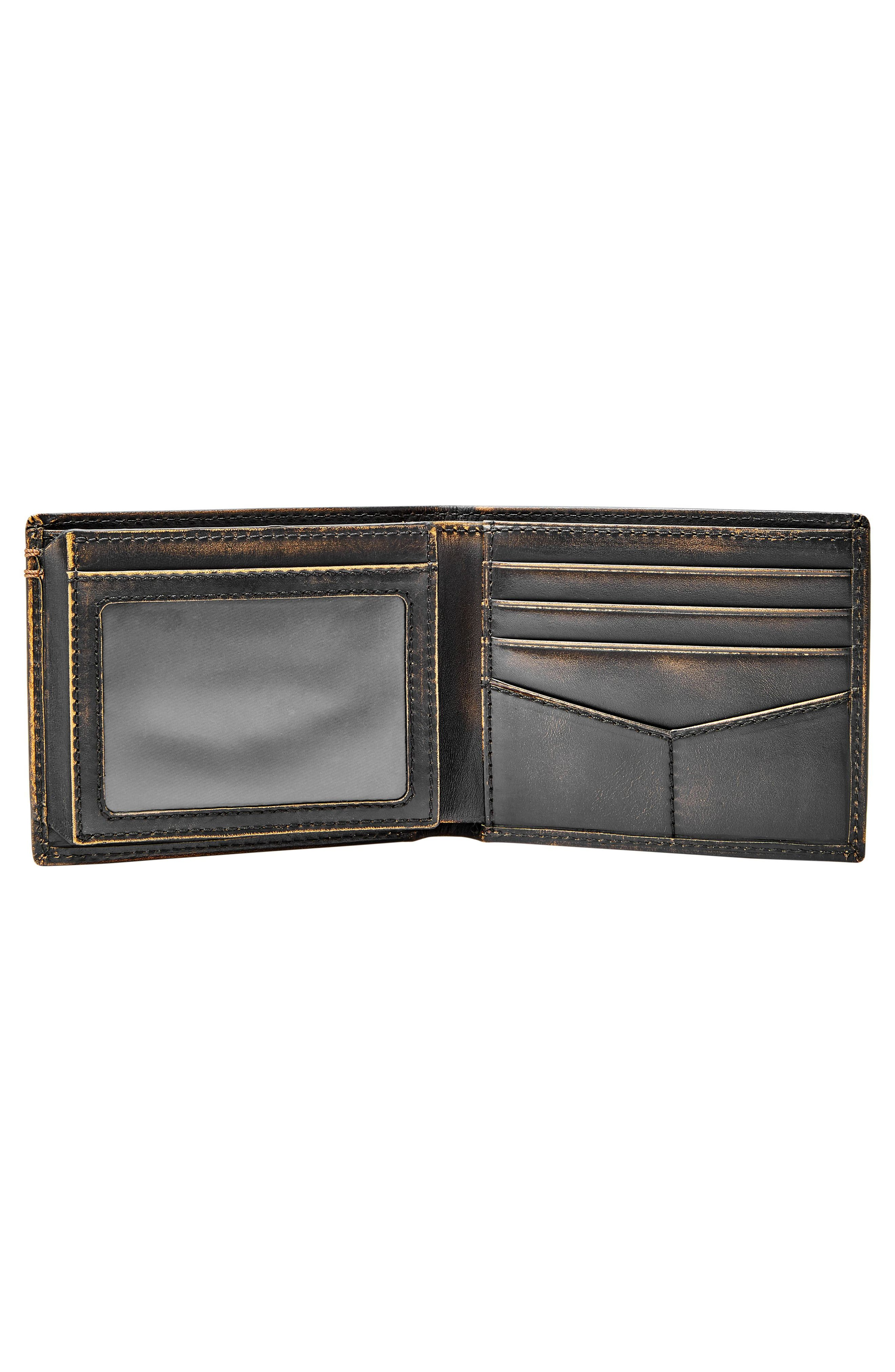 FOSSIL, Wade Leather Wallet, Alternate thumbnail 2, color, BLACK