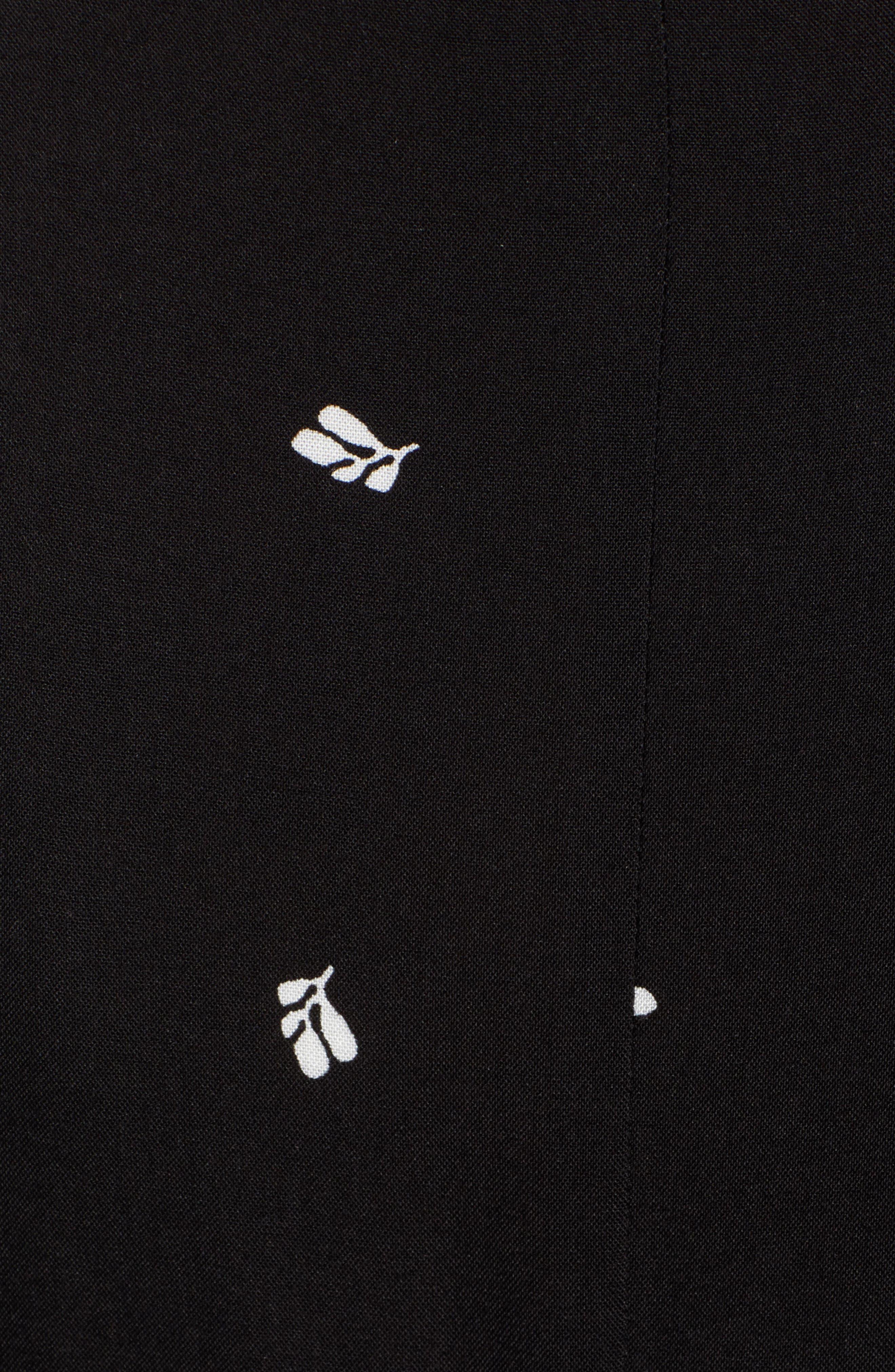 BOBEAU, Orna High/Low Wrap Dress, Alternate thumbnail 6, color, BLACK LEAF PRINT