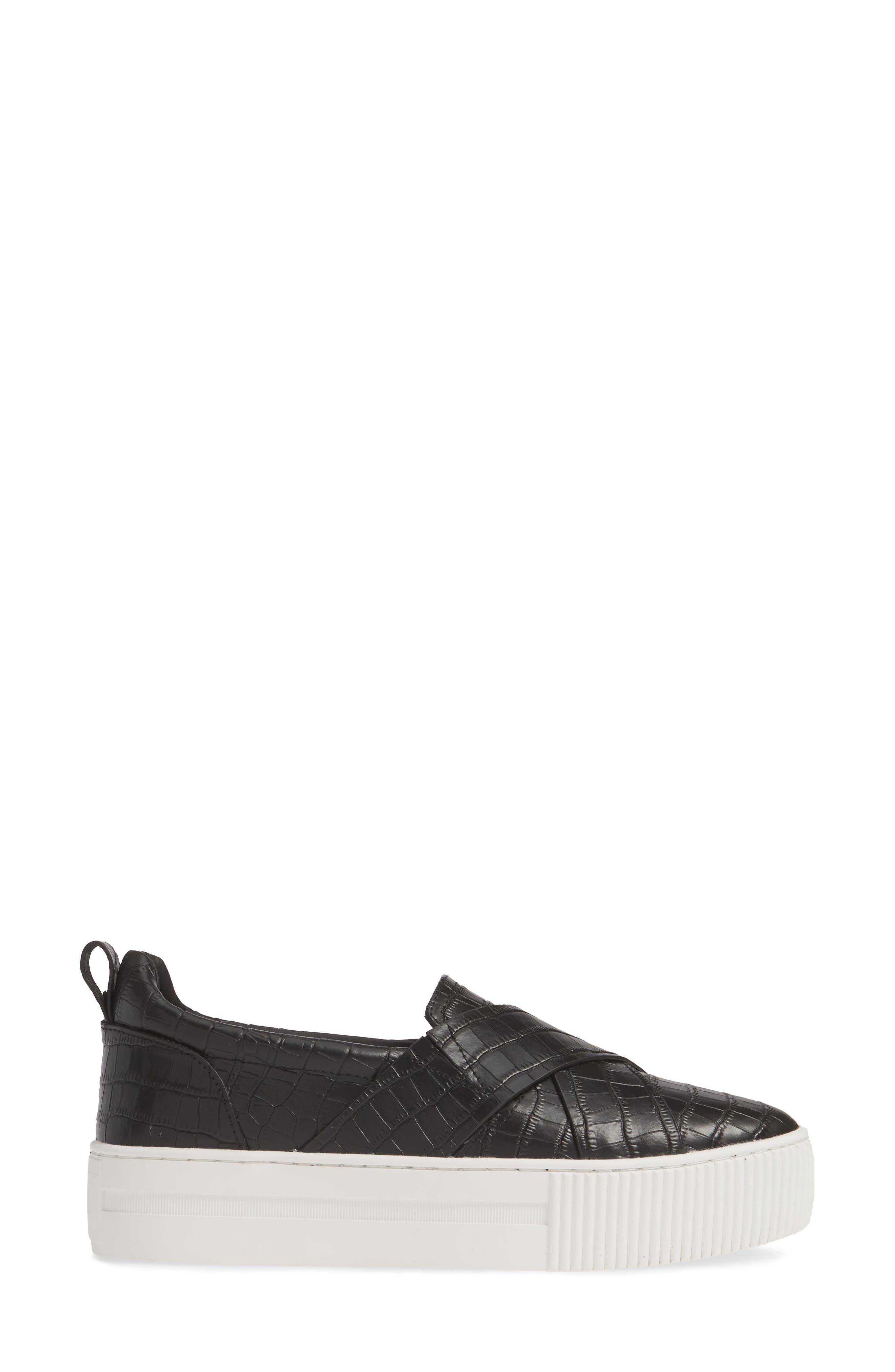 HALOGEN<SUP>®</SUP>, Blakely Slip-On Platform Sneaker, Alternate thumbnail 3, color, BLACK CROCO PRINTED LEATHER