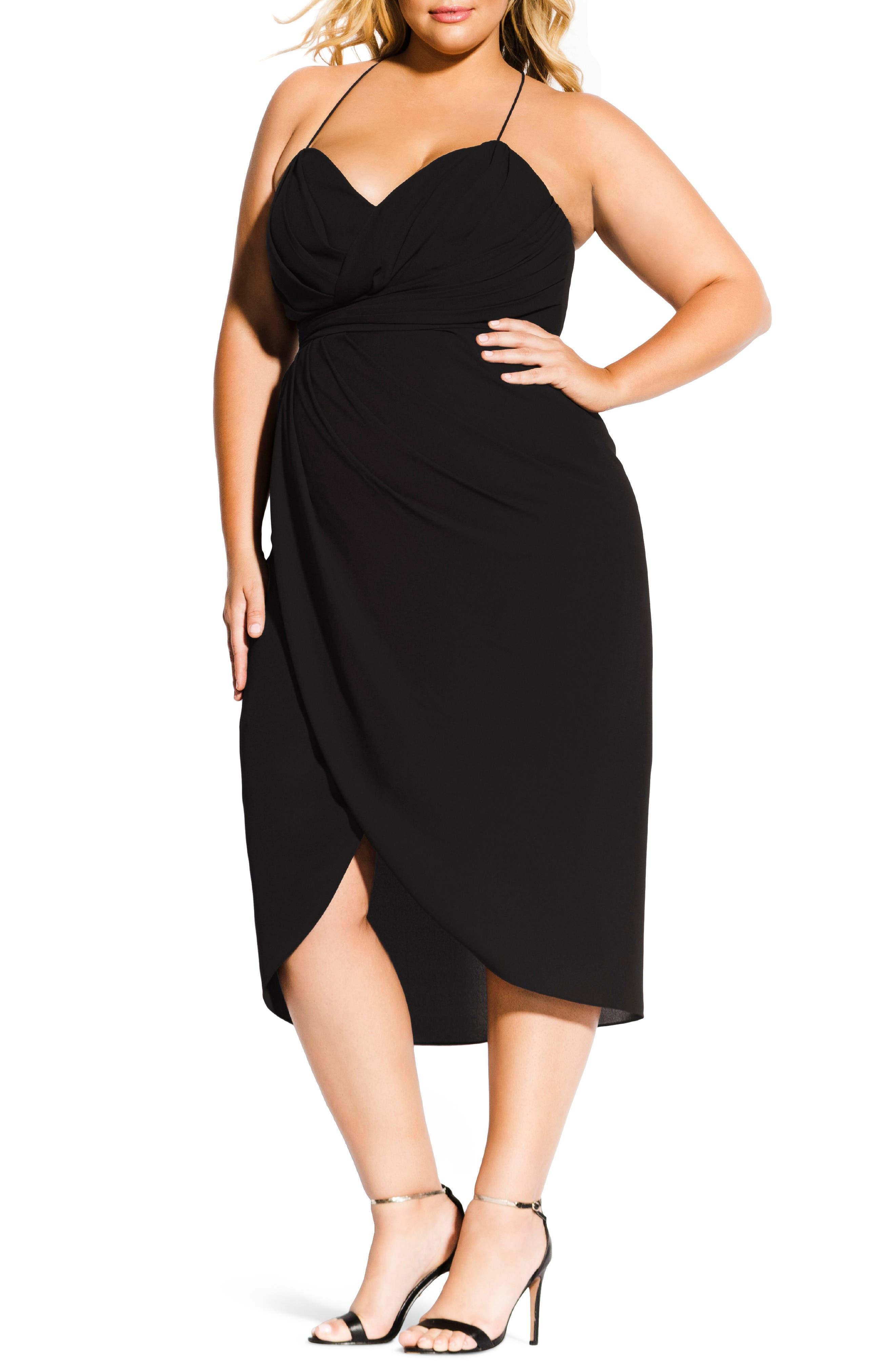 Plus Size City Chic Adoration Ruched Midi Dress, Black