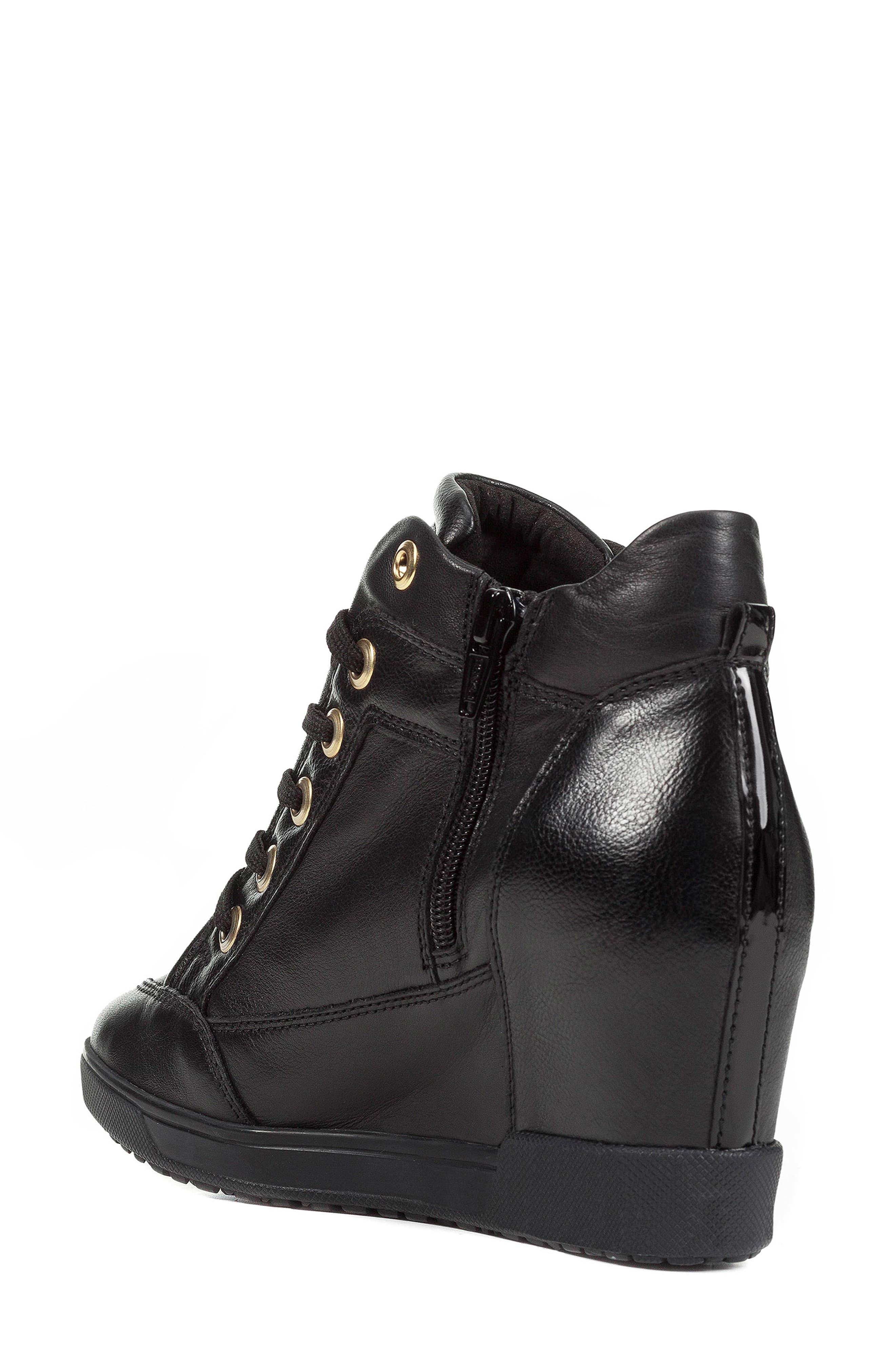 GEOX, Carum Wedge Sneaker, Alternate thumbnail 6, color, 001