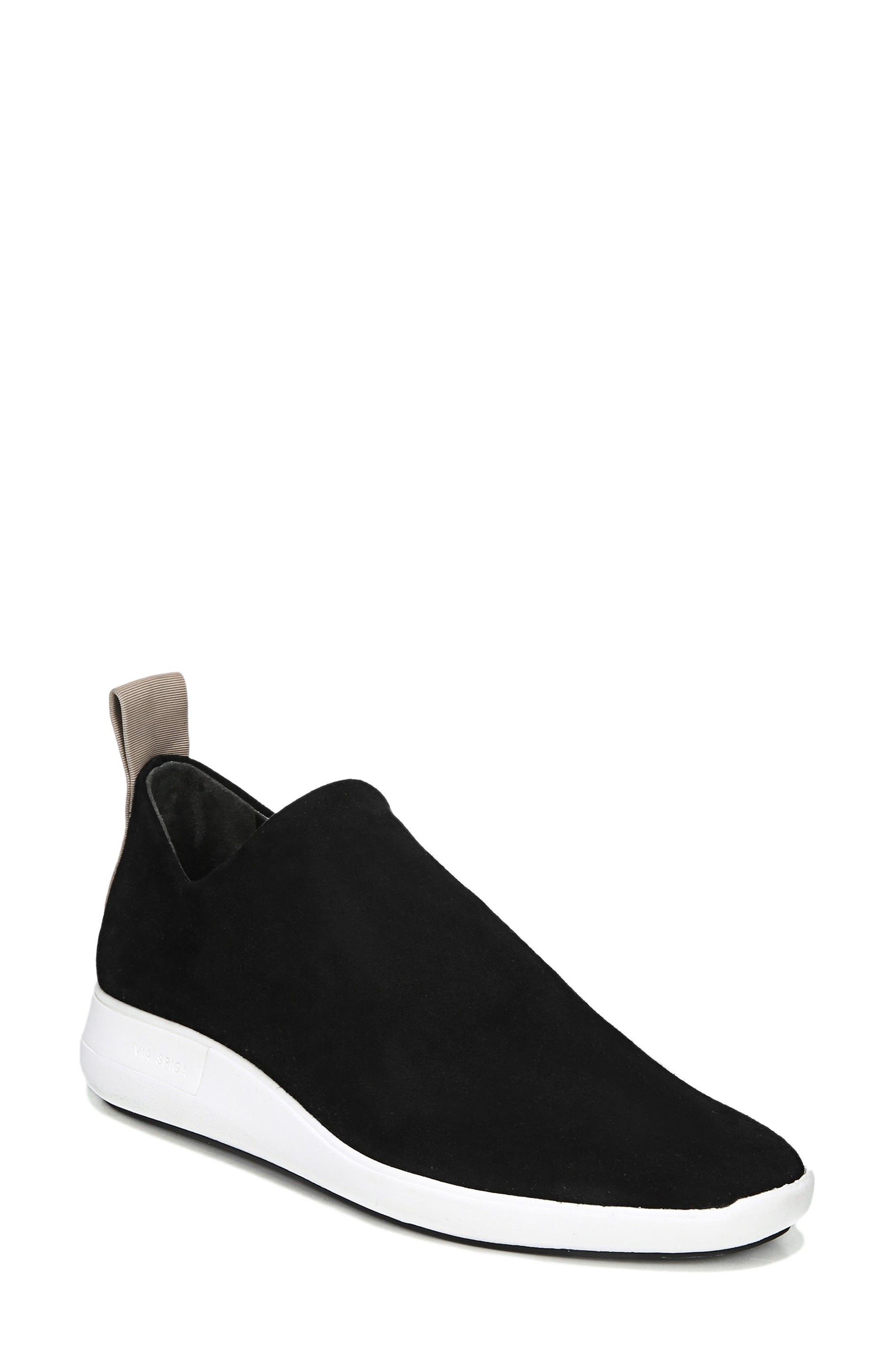 VIA SPIGA Marlow Slip-On Sneaker, Main, color, BLACK SUEDE