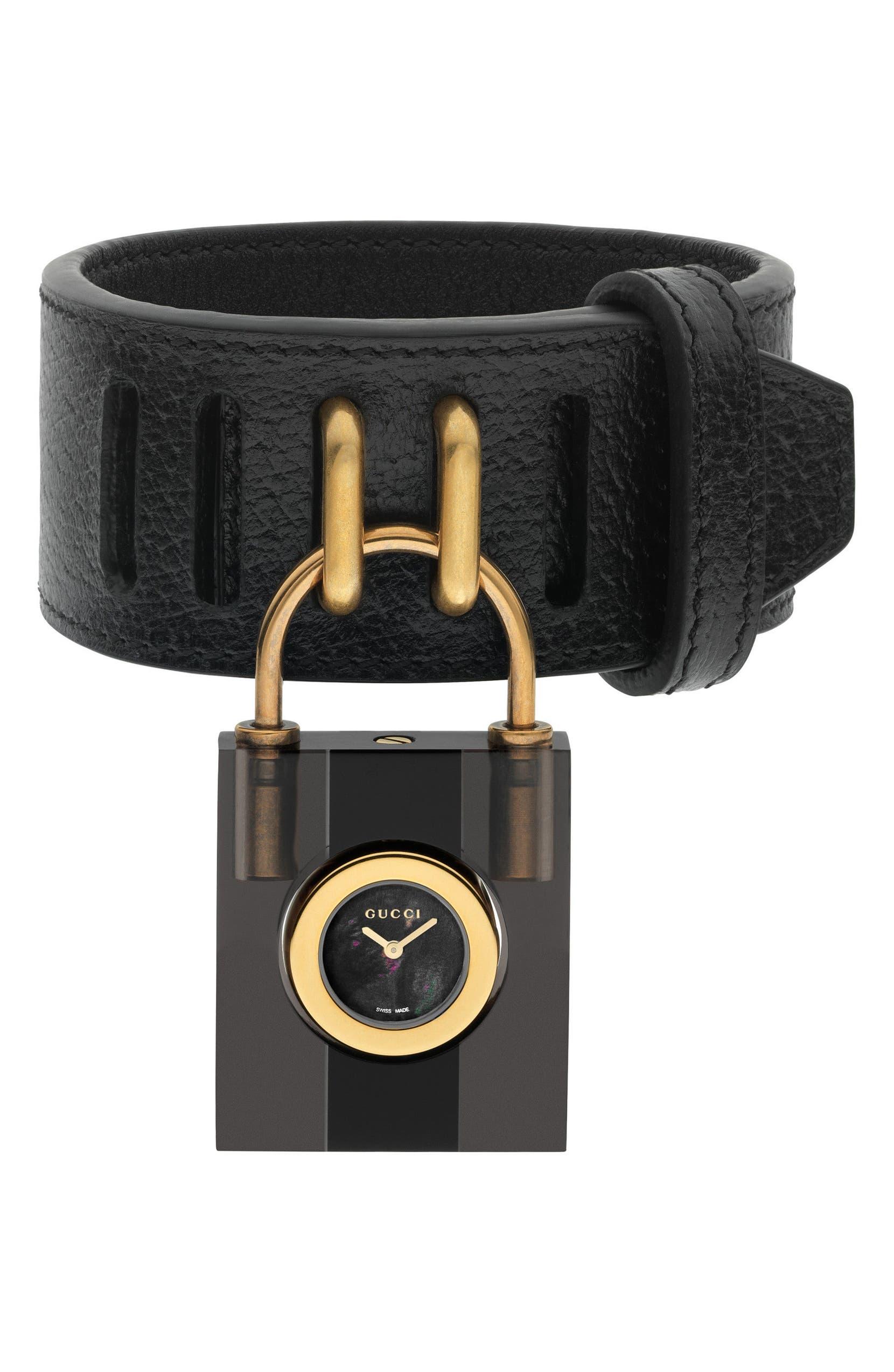 a437c6e681c Gucci Twirl Small Leather Strap Padlock Watch
