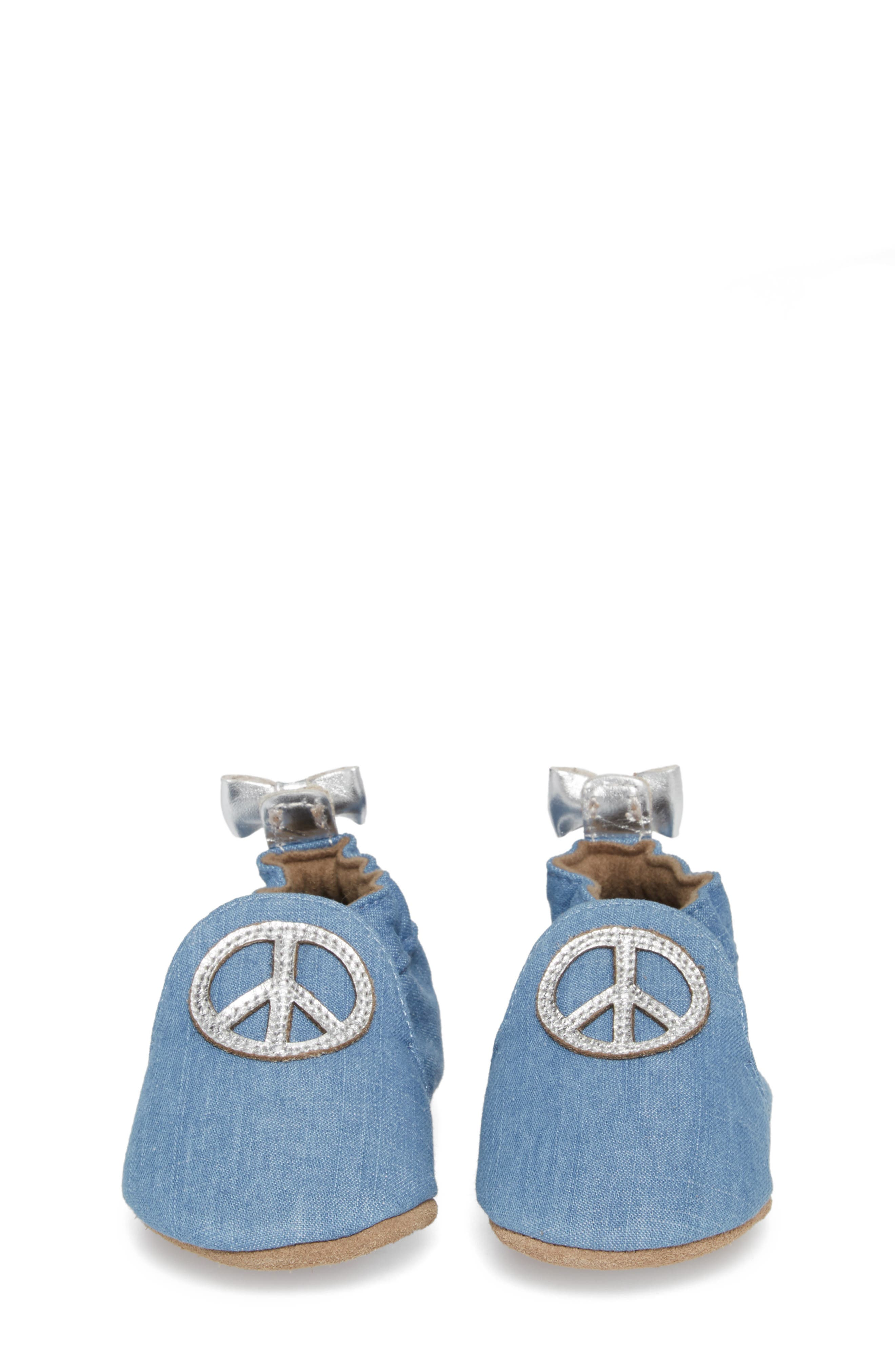 ROBEEZ<SUP>®</SUP>, Peace Out Moccasin Crib Shoe, Alternate thumbnail 4, color, BLUE