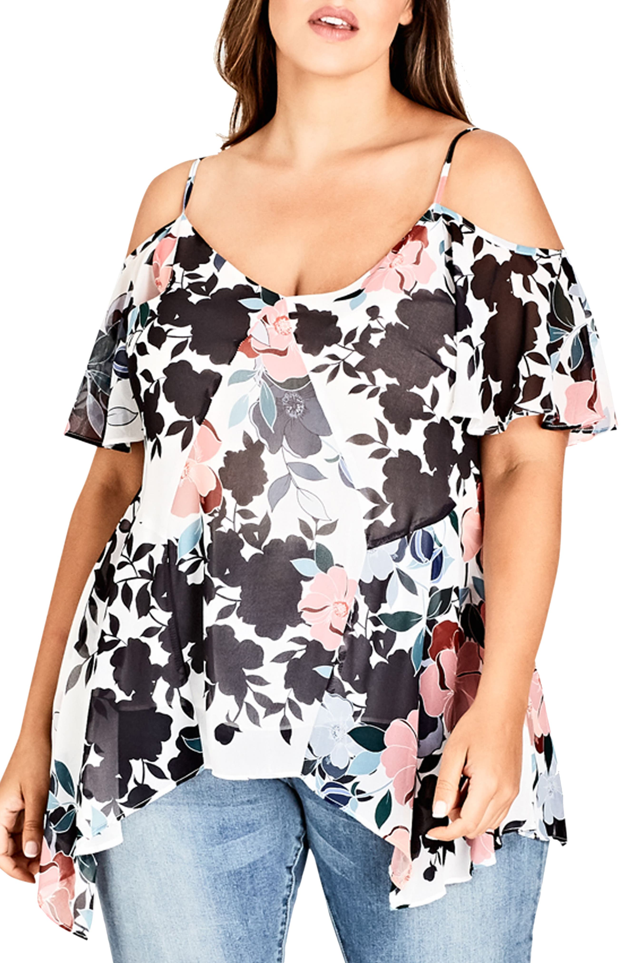 CITY CHIC Holiday Floral Cold Shoulder Top, Main, color, HOLIDAY FLORAL