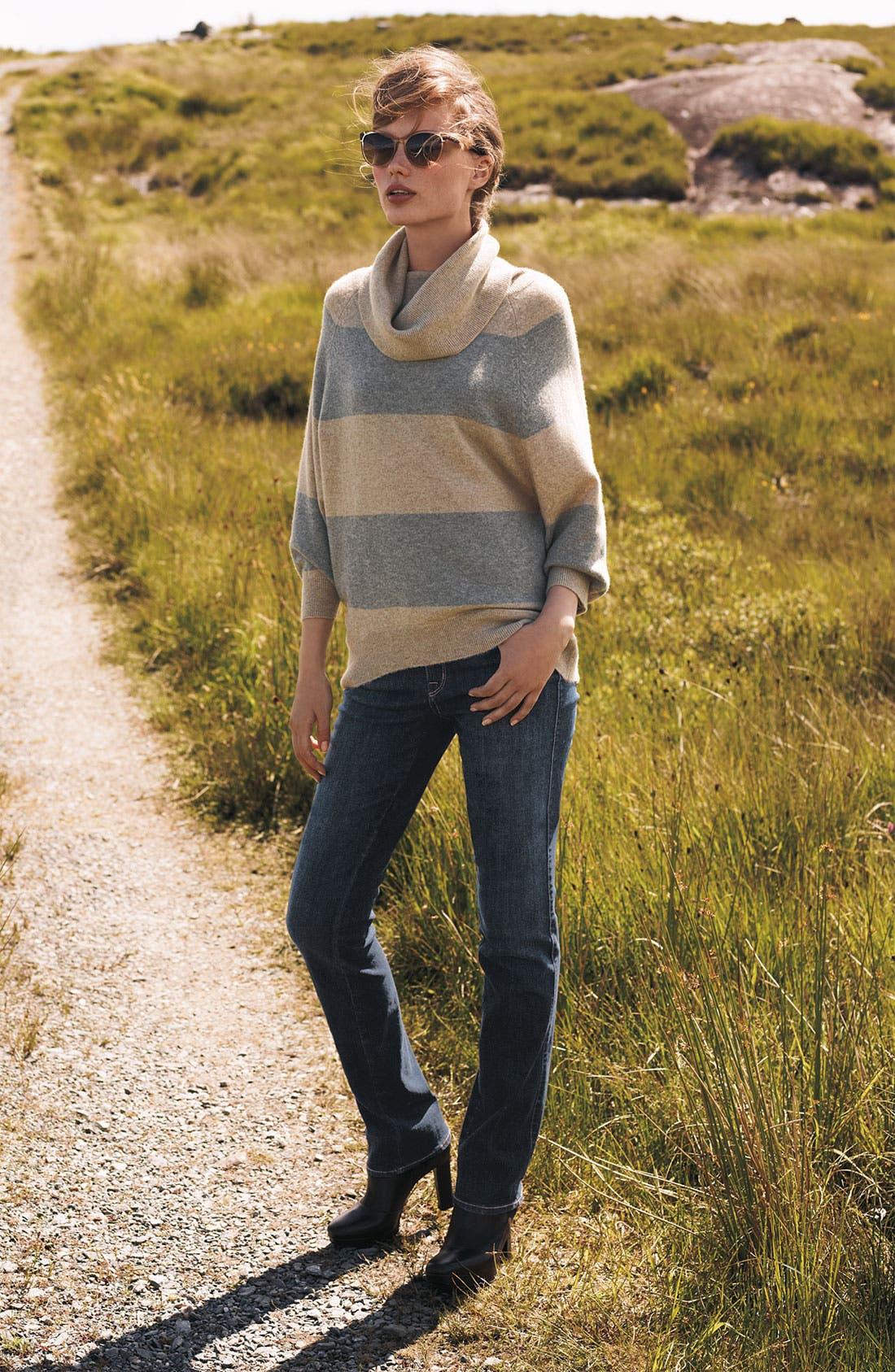 PURE AMICI, Stripe Cashmere Tunic, Alternate thumbnail 5, color, 001