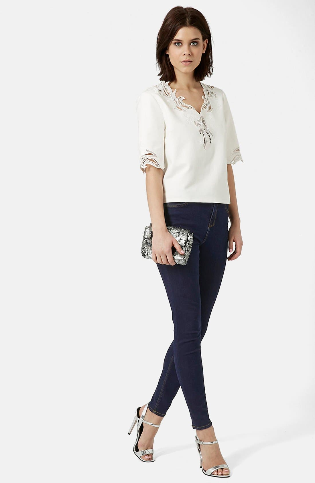 TOPSHOP, Moto 'Jamie' Skinny Jeans, Alternate thumbnail 2, color, 400