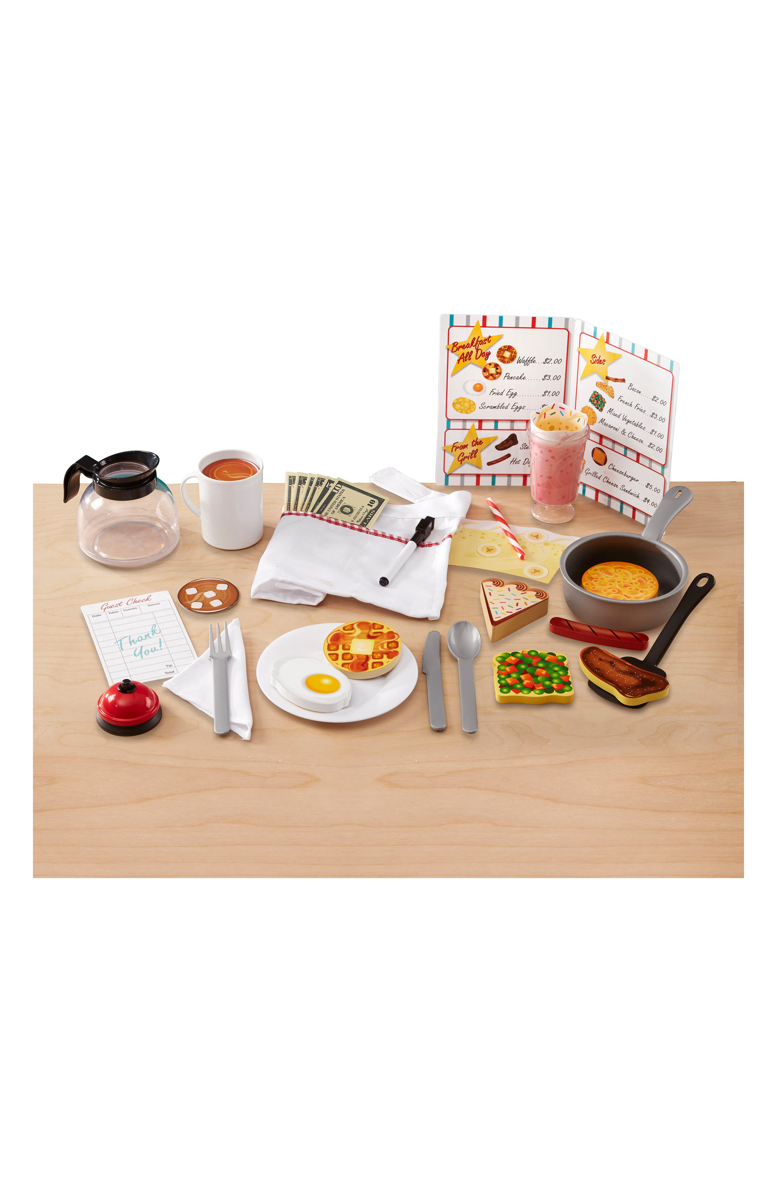 MELISSA & DOUG, 41-Piece Star Diner Restaurant Play Set, Alternate thumbnail 4, color, WHITE