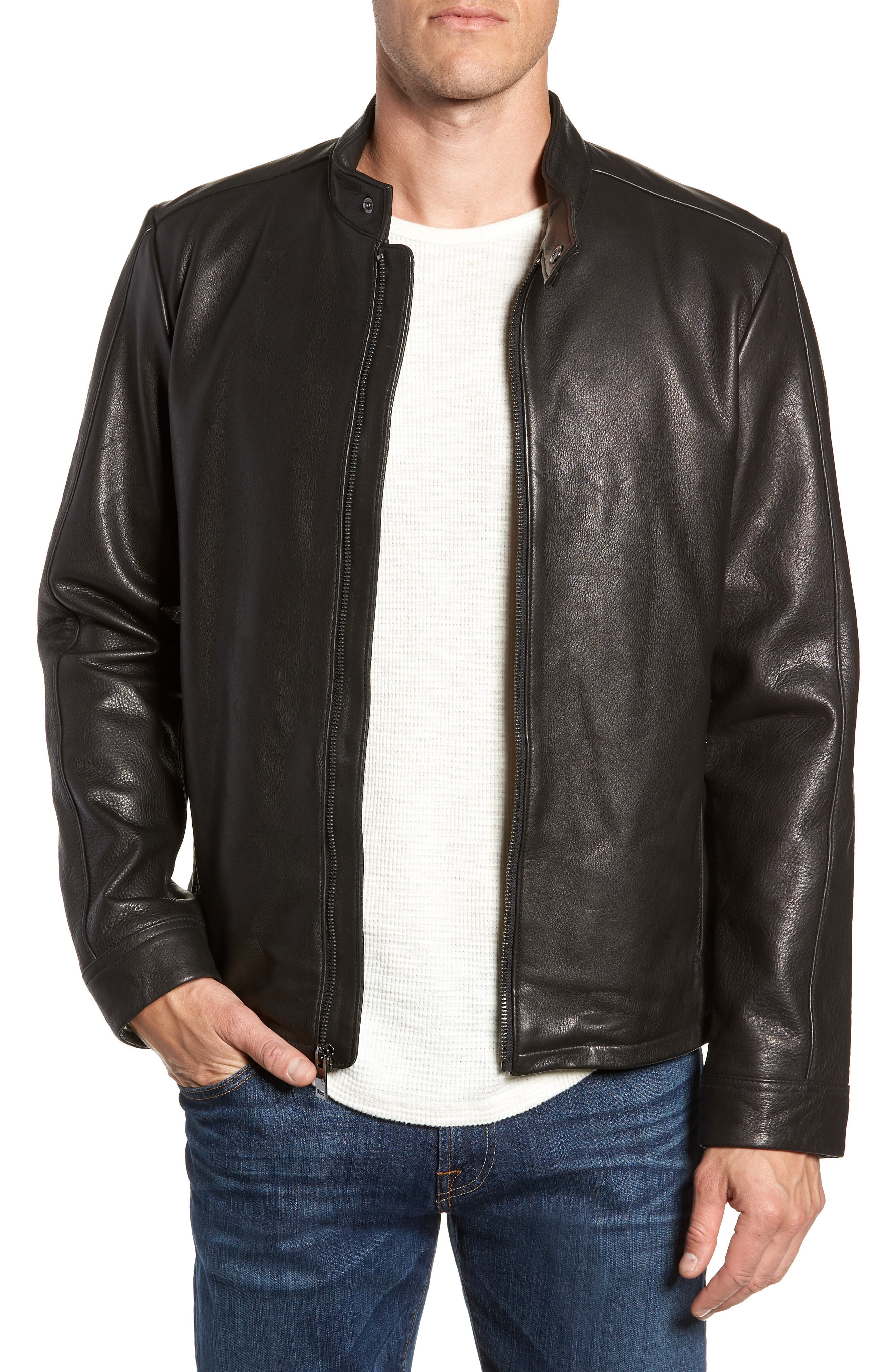 UGG<SUP>®</SUP> Orlando Leather Racer Coat, Main, color, BLACK