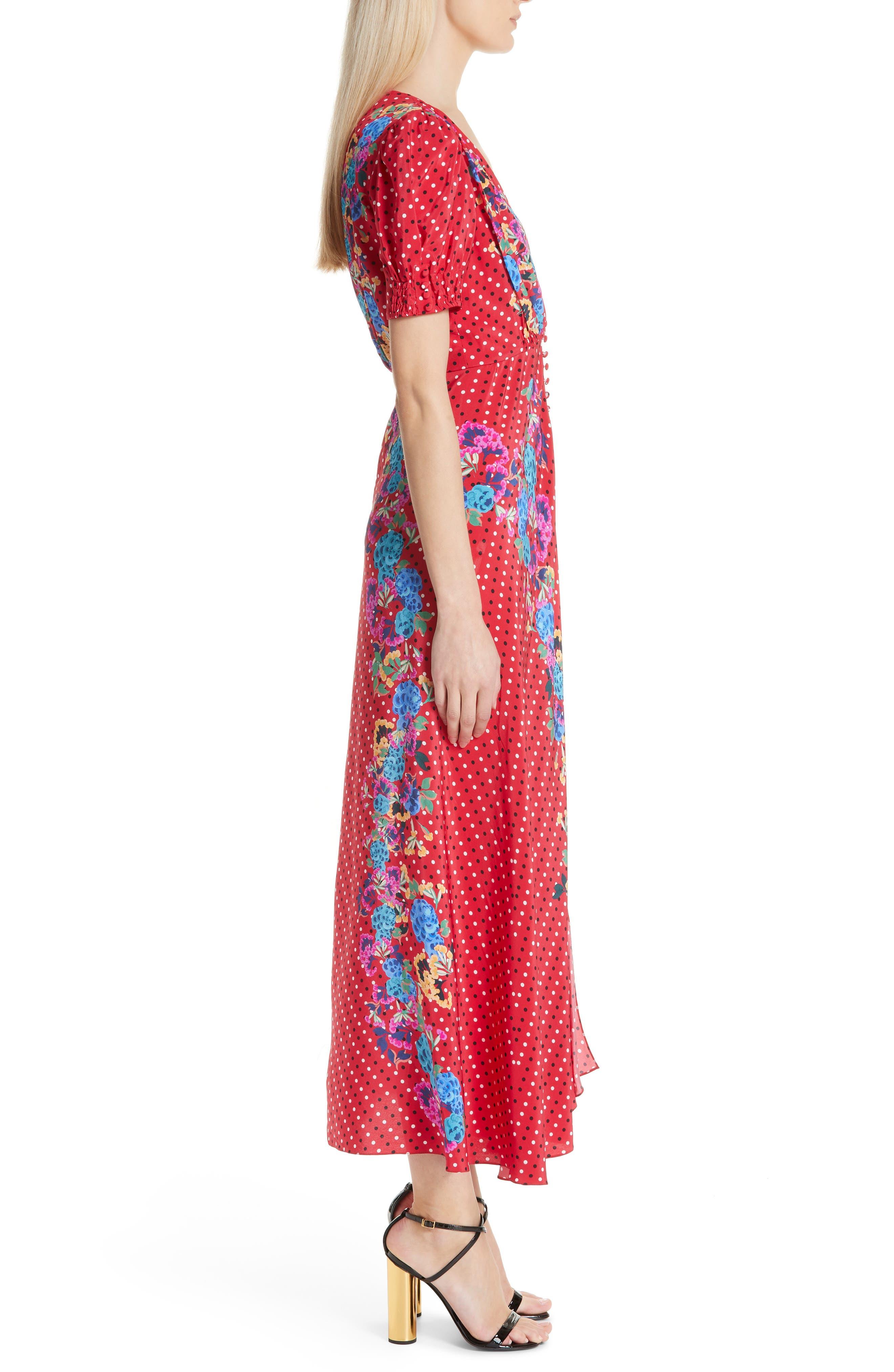 SALONI, Lea Print Silk Maxi Dress, Alternate thumbnail 3, color, SCARLET POLKA DOT