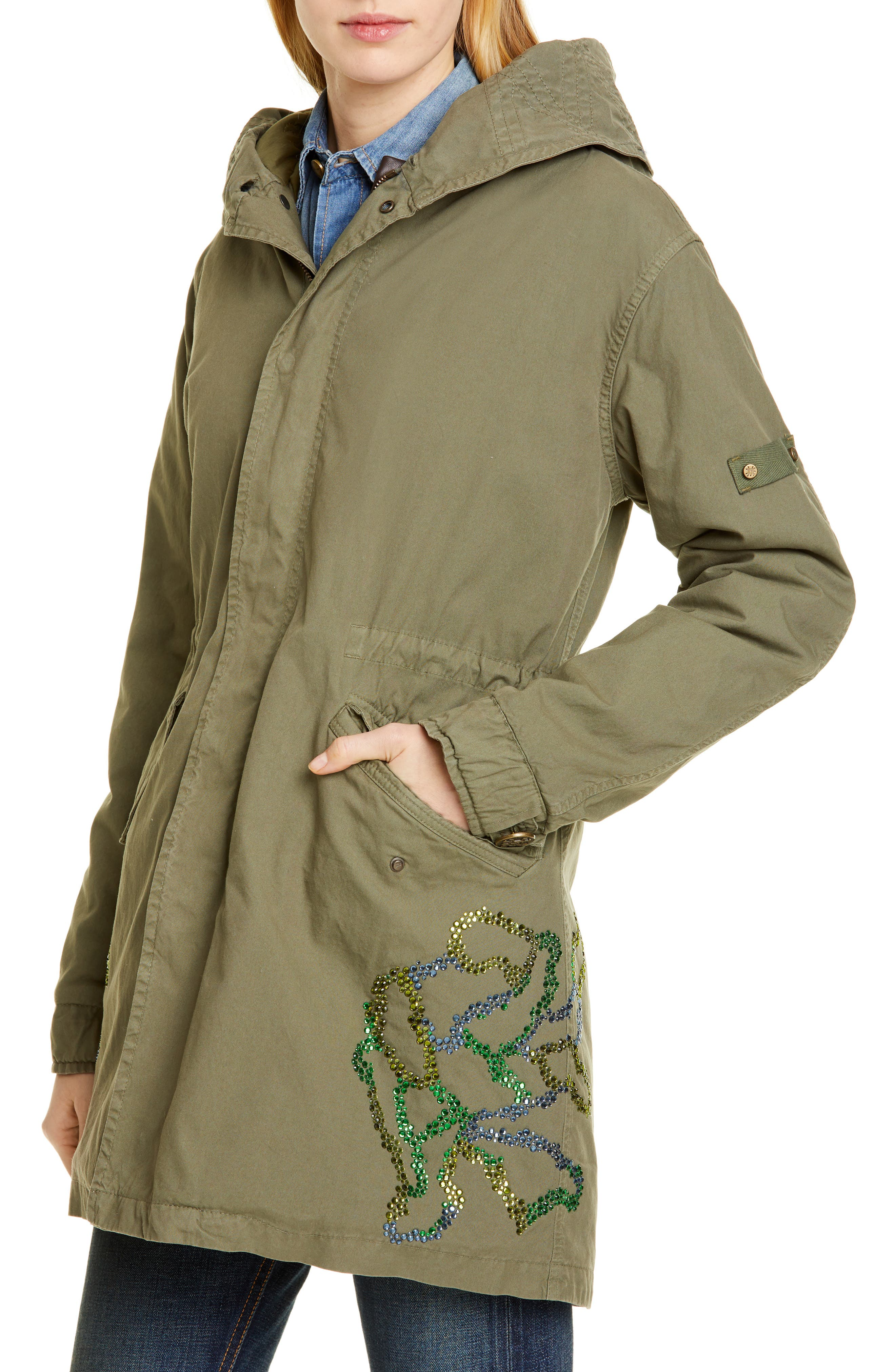 MR & MRS ITALY, Crystal Embellished Parka with Removable Genuine Fox Fur Trim, Alternate thumbnail 2, color, ARMY
