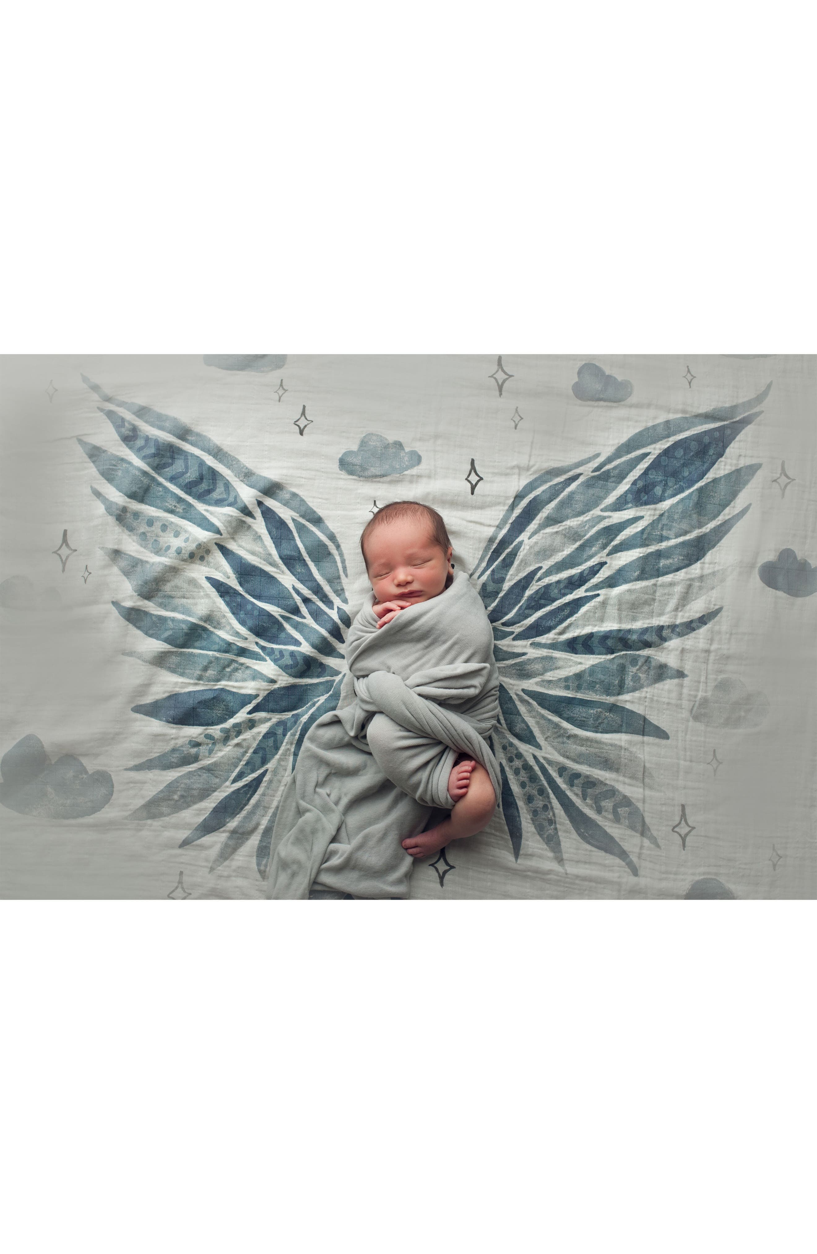 COVETED THINGS, Wings Organic Cotton Swaddle Scarf, Alternate thumbnail 4, color, CLOUD WHITE/ BLUE