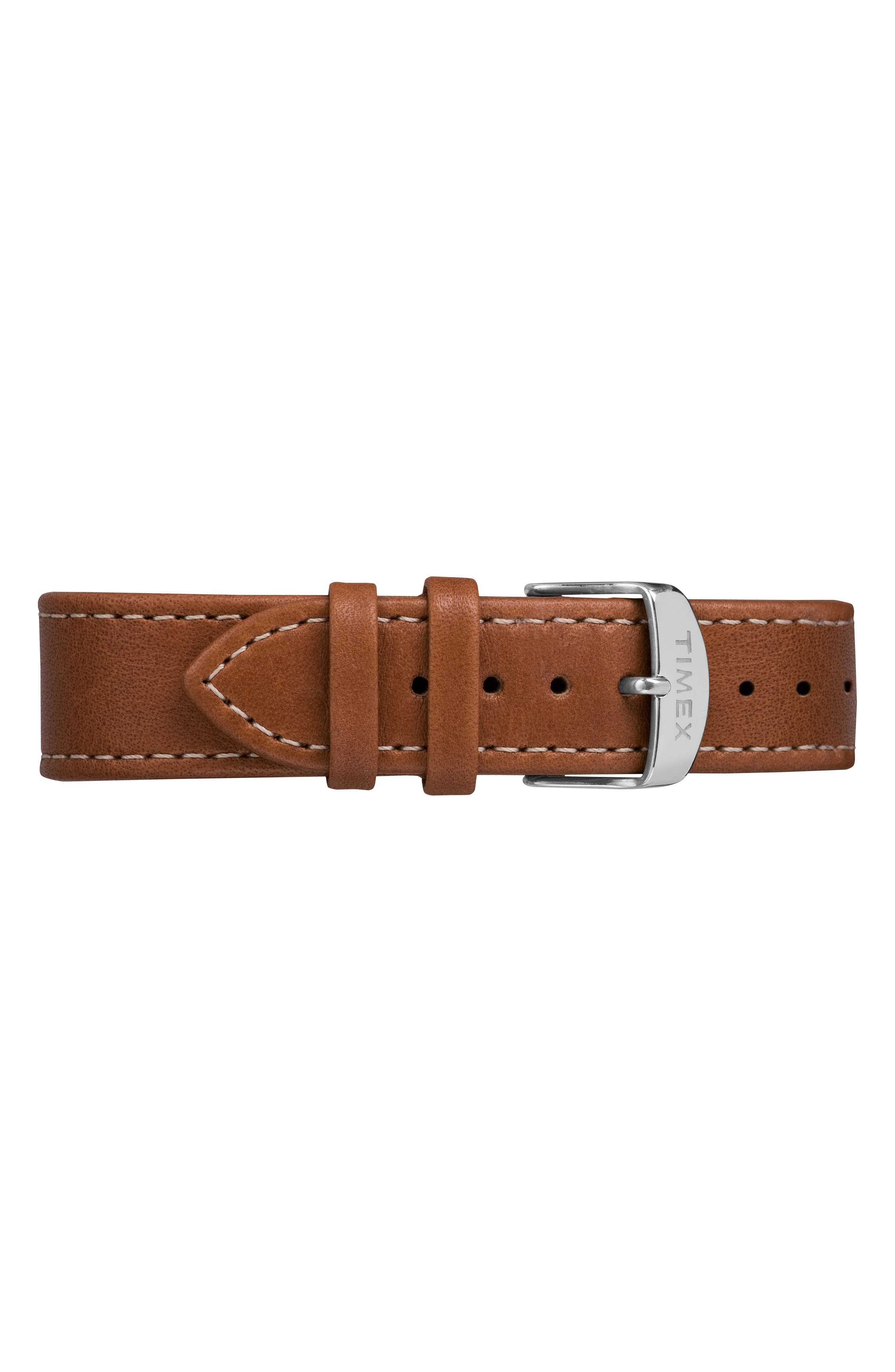 TIMEX<SUP>®</SUP>, Waterbury Leather Strap Watch, 40mm, Alternate thumbnail 3, color, TAN/ BLACK/ SILVER