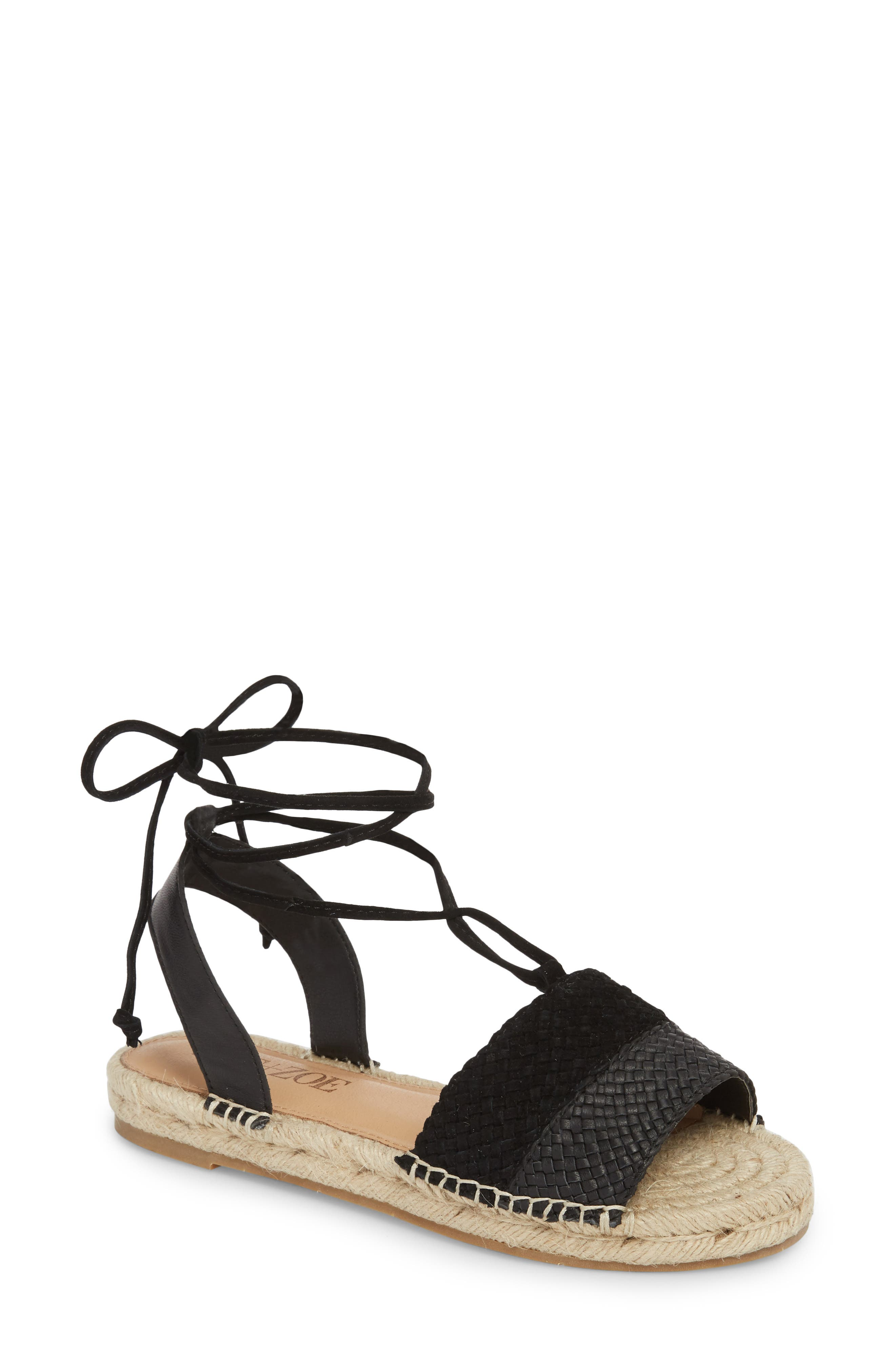 NIC+ZOE, Eliza Ankle Wrap Espadrille Sandal, Main thumbnail 1, color, BLACK FABRIC