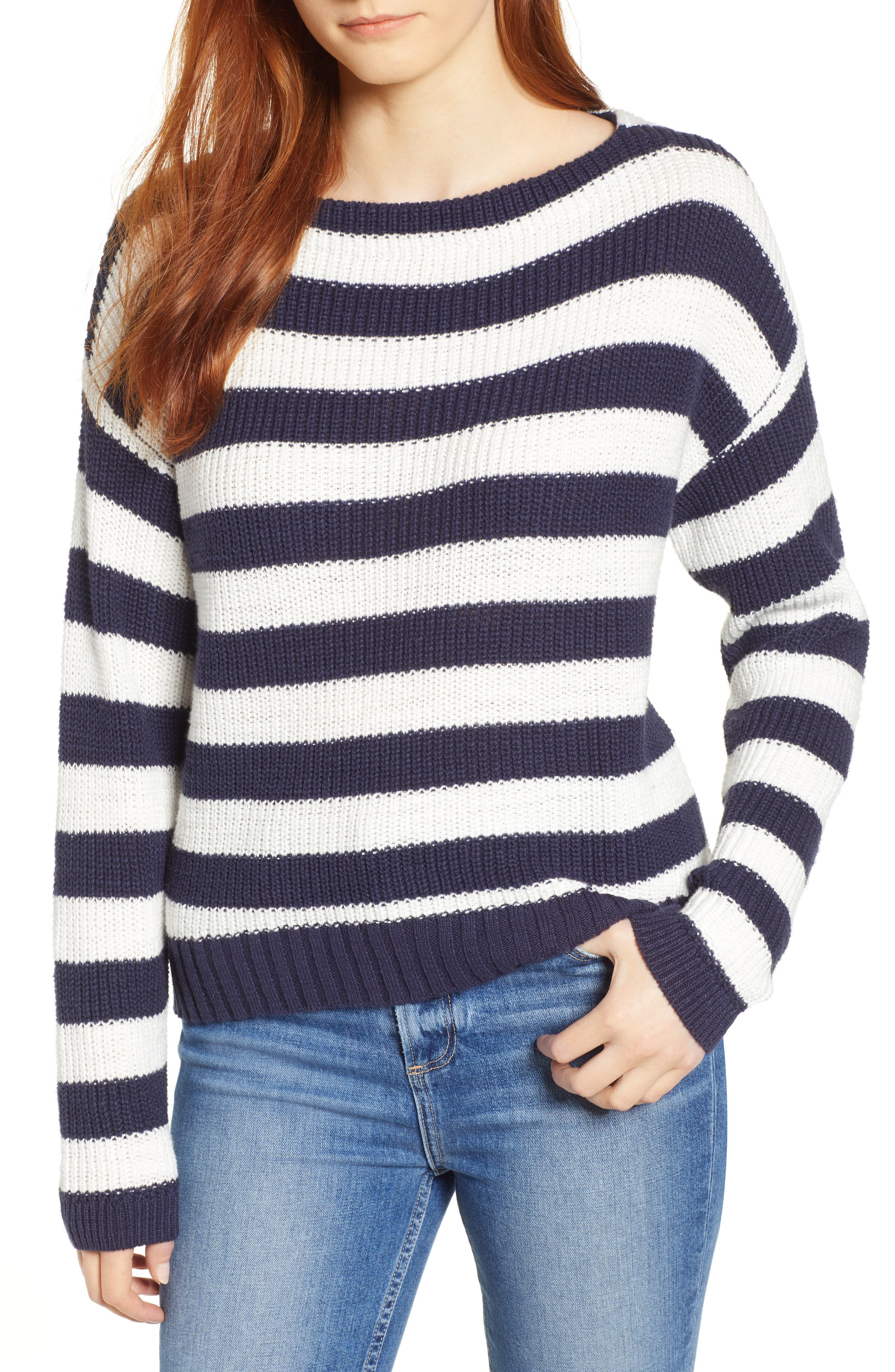 CASLON<SUP>®</SUP>, Boat Neck Pullover, Main thumbnail 1, color, NAVY STRIPE