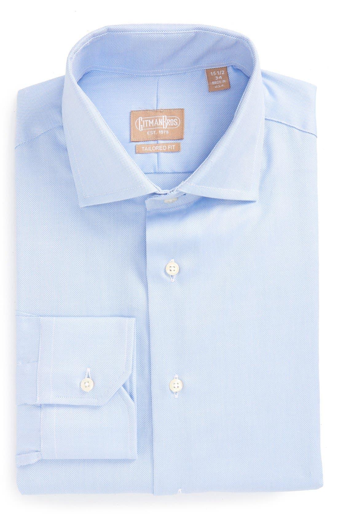 GITMAN, Royal Oxford Tailored Fit Dress Shirt, Main thumbnail 1, color, BLUE