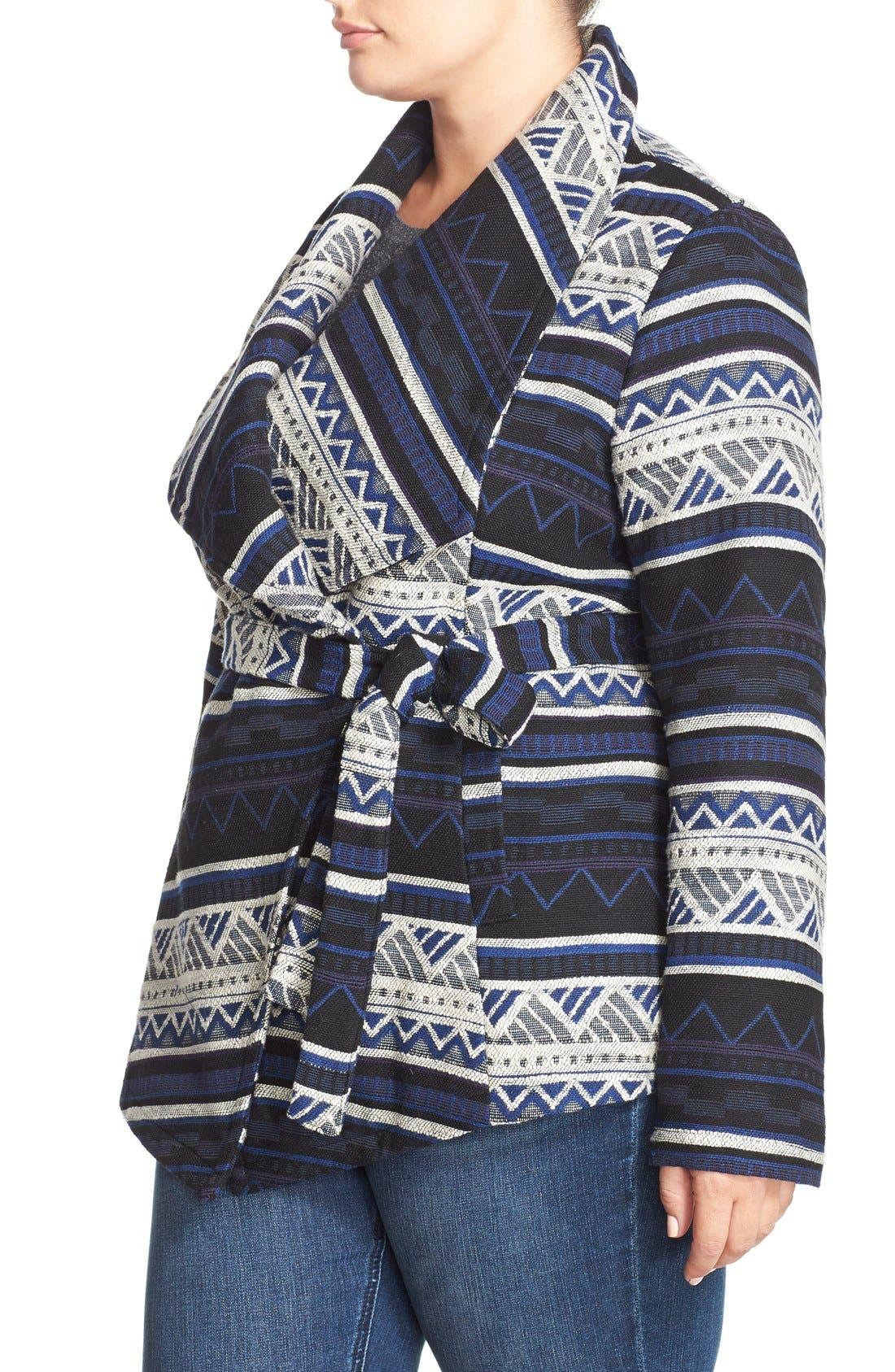 BB DAKOTA, 'Huntington' Jacquard Wrap Coat, Alternate thumbnail 3, color, 480