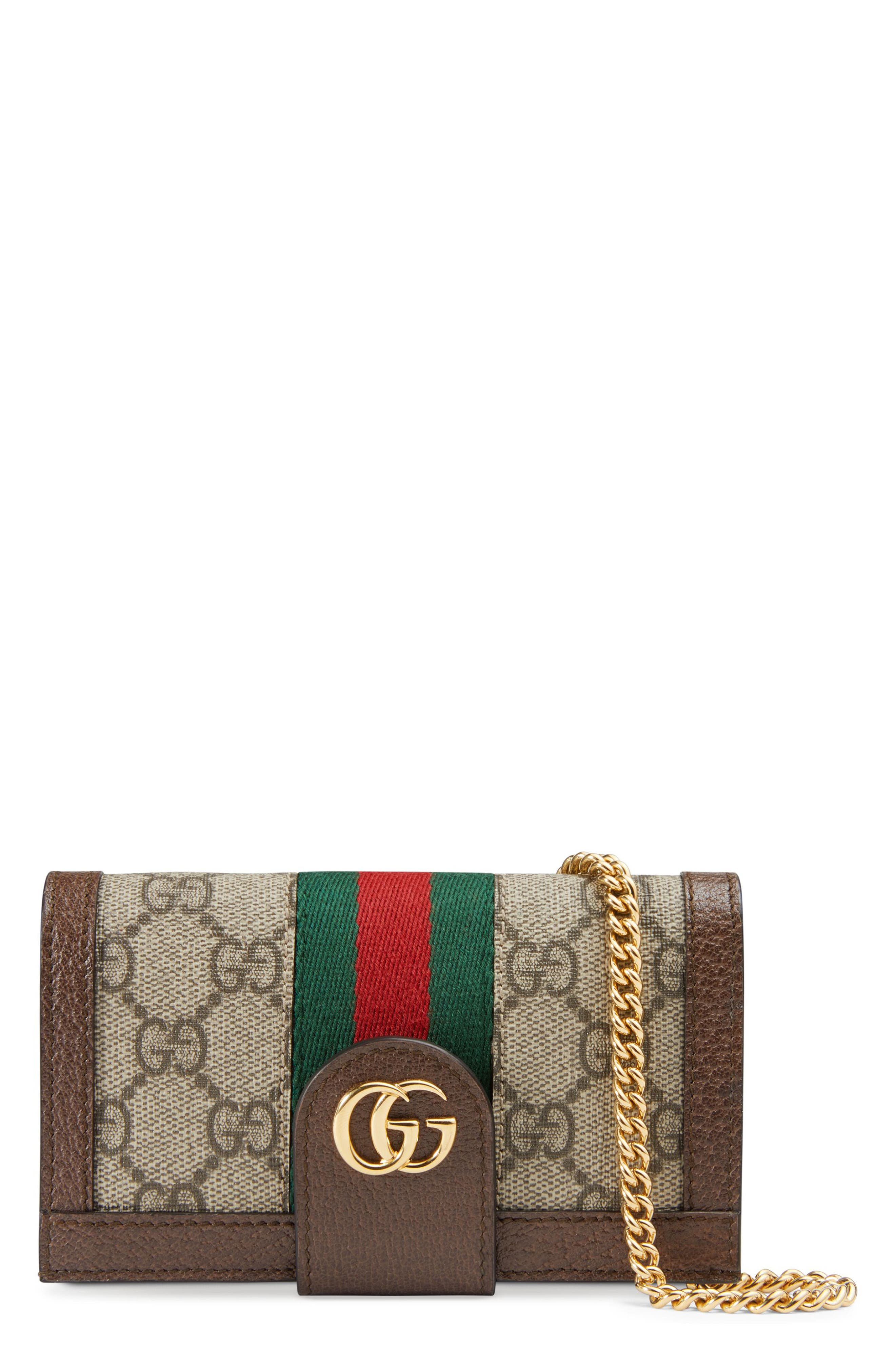 GUCCI, Ophidia GG Supreme iPhone 7/8 Case, Main thumbnail 1, color, BEIGE EBONY/ ACERO/ VERT RED