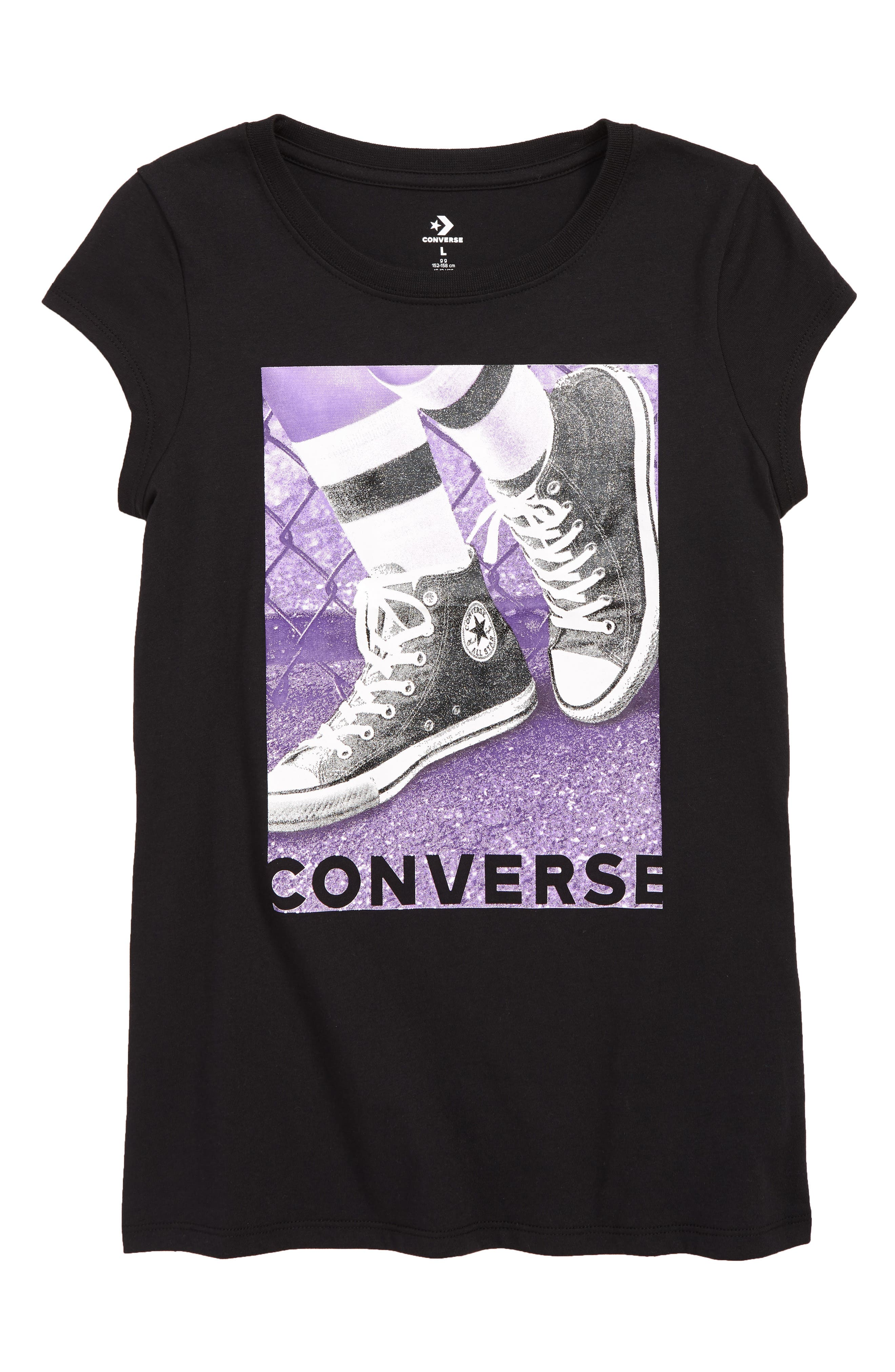 CONVERSE, Glitter Playground Photo Tee, Main thumbnail 1, color, BLACK