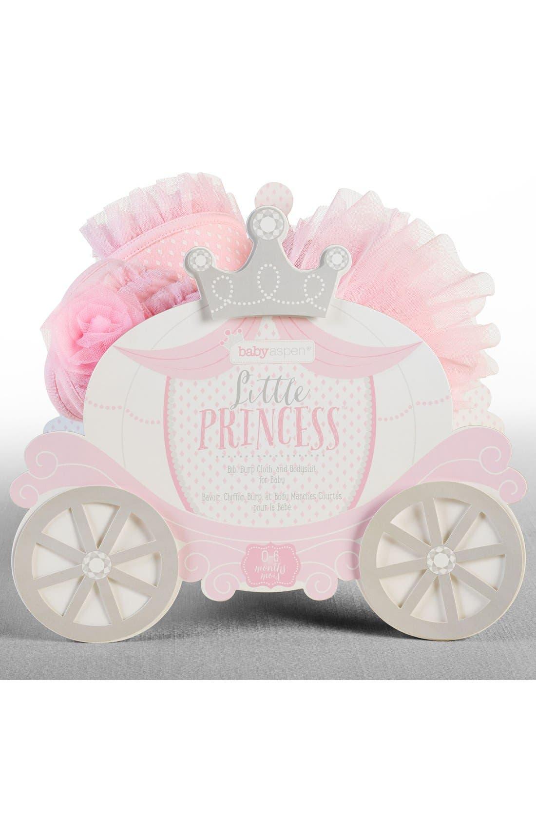 BABY ASPEN, Little Princess 3-Piece Gift Set, Alternate thumbnail 3, color, PINK