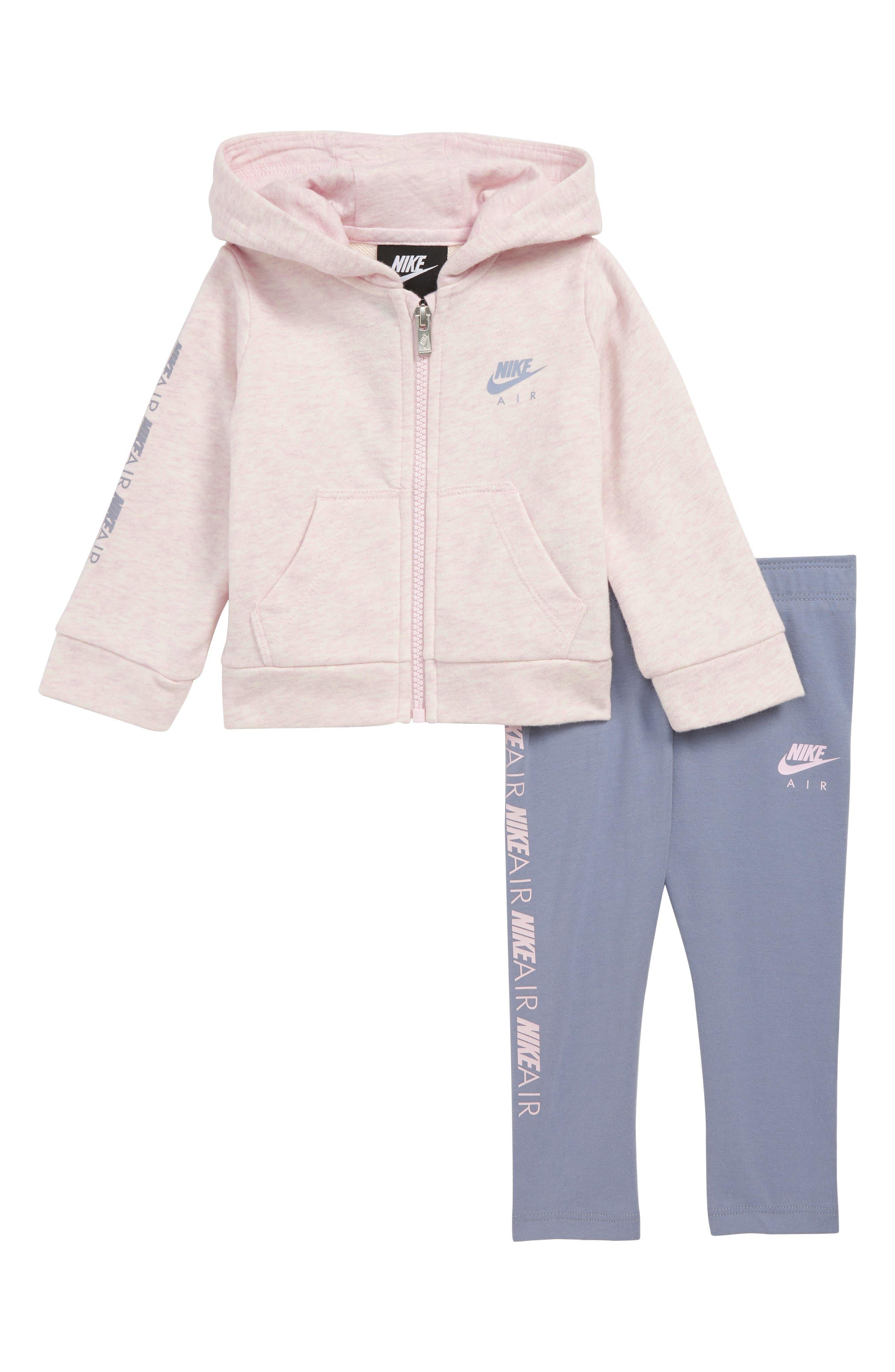 NIKE Air Zip Hoodie & Pants Set, Main, color, ASHEN SLATE