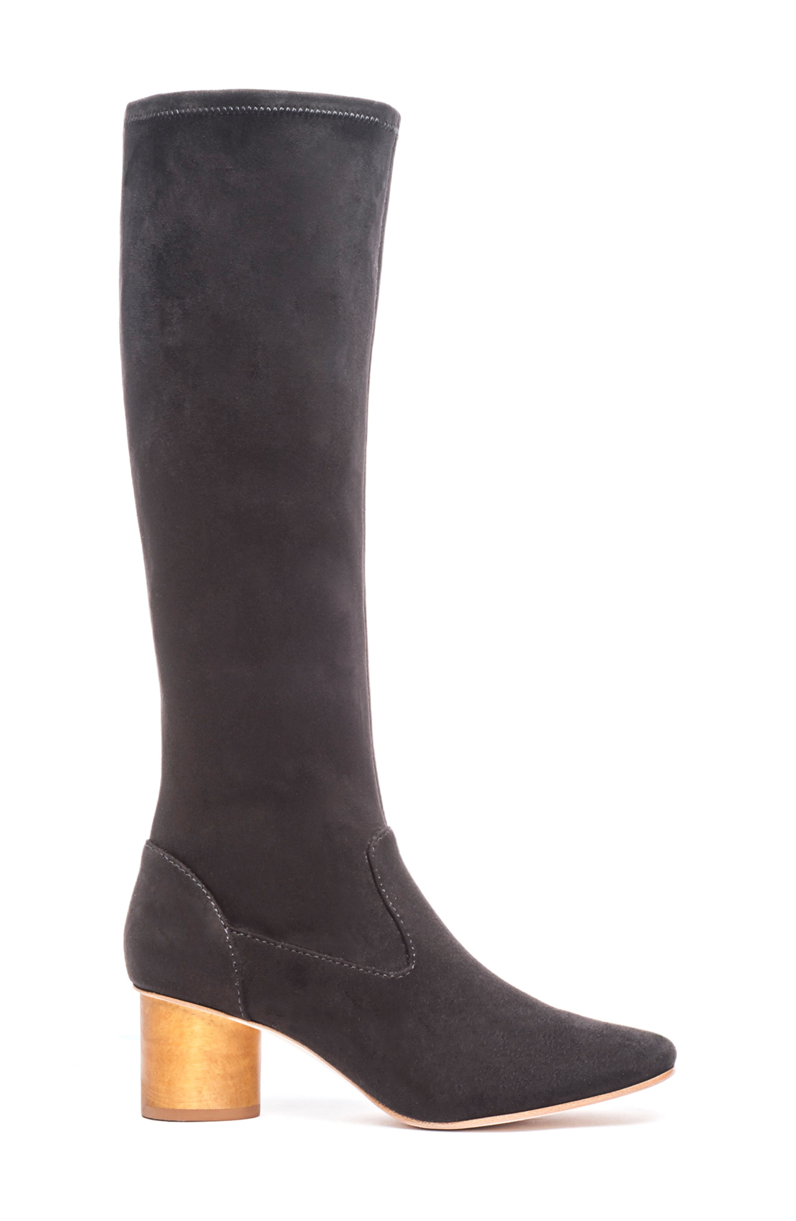 BERNARDO, Knee High Boot, Alternate thumbnail 3, color, BLACK LEATHER