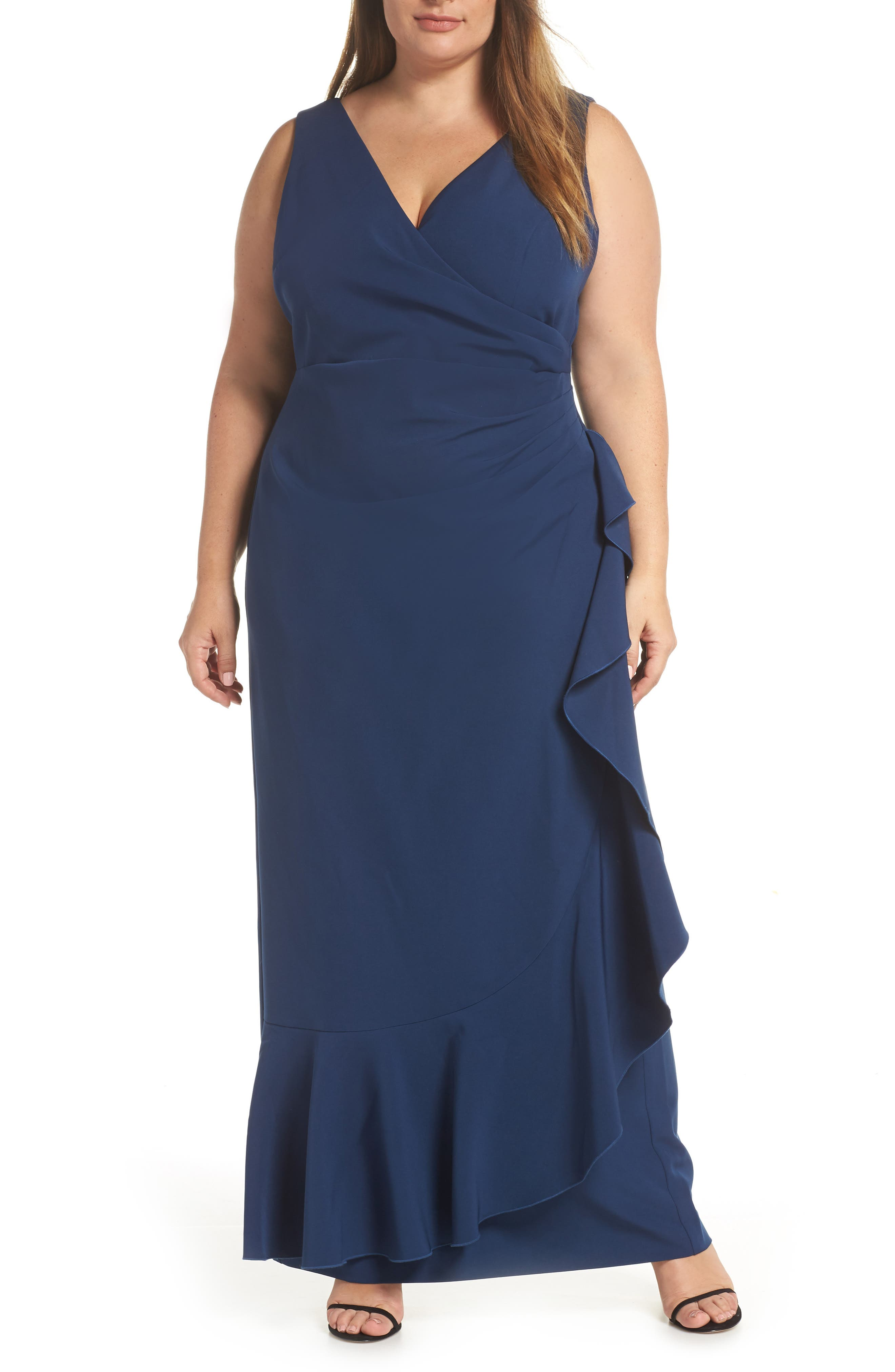 VINCE CAMUTO Side Drape Ruffle Gown, Main, color, 421