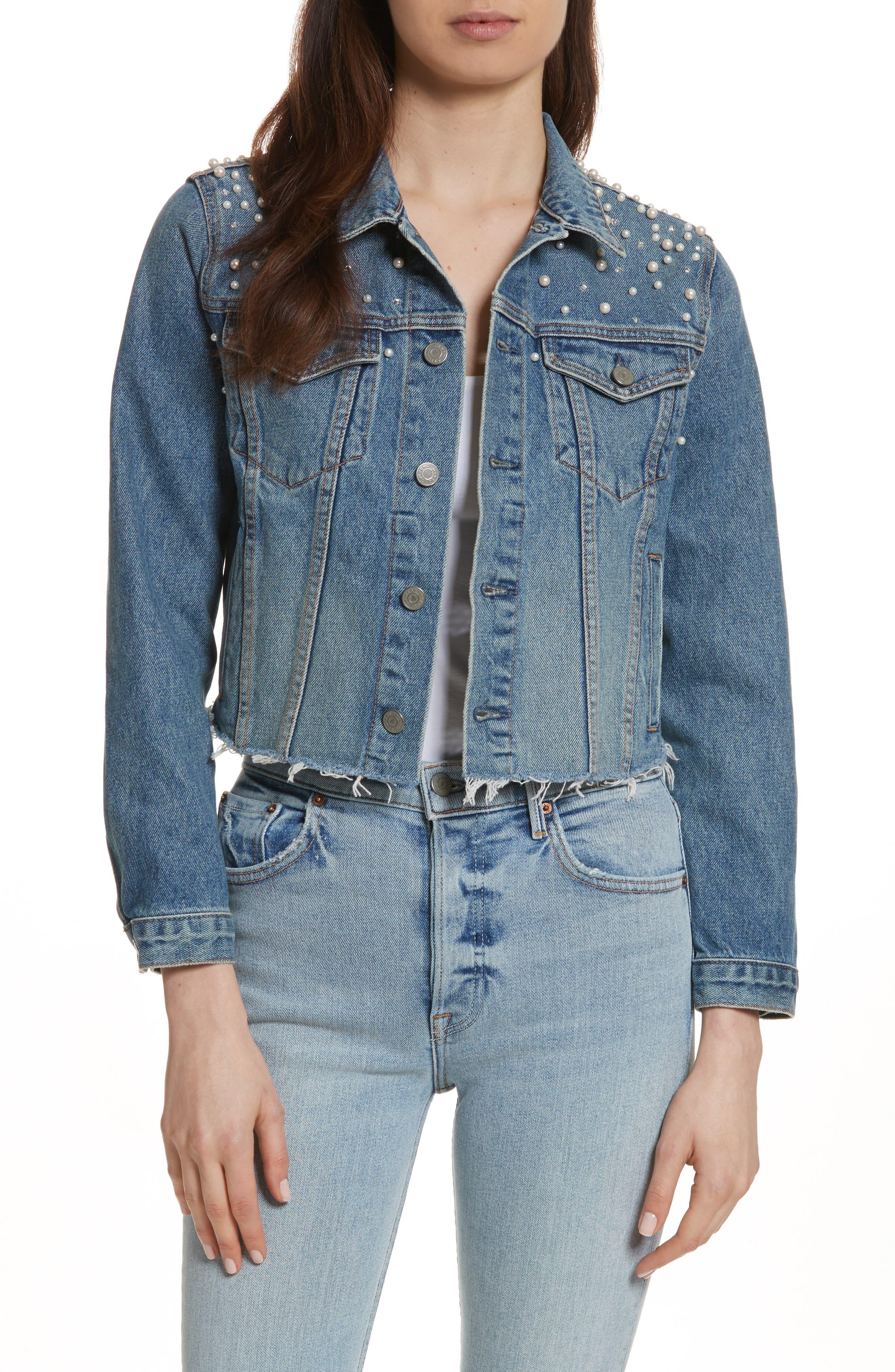GRLFRND, Eve Faux Pearl & Crystal Embellished Crop Denim Jacket, Main thumbnail 1, color, 498