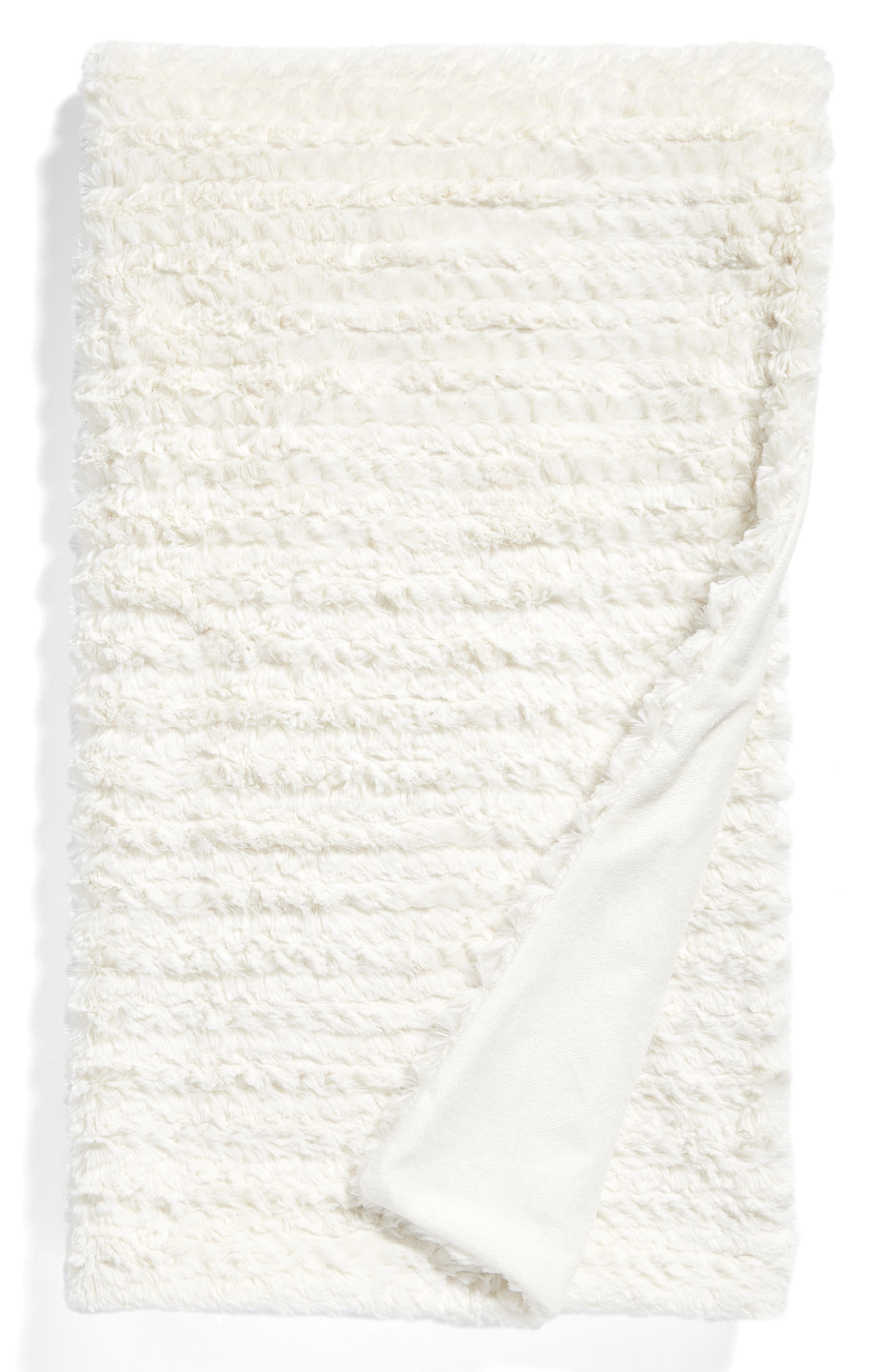NORDSTROM AT HOME, Faux Fur Throw Blanket, Main thumbnail 1, color, IVORY