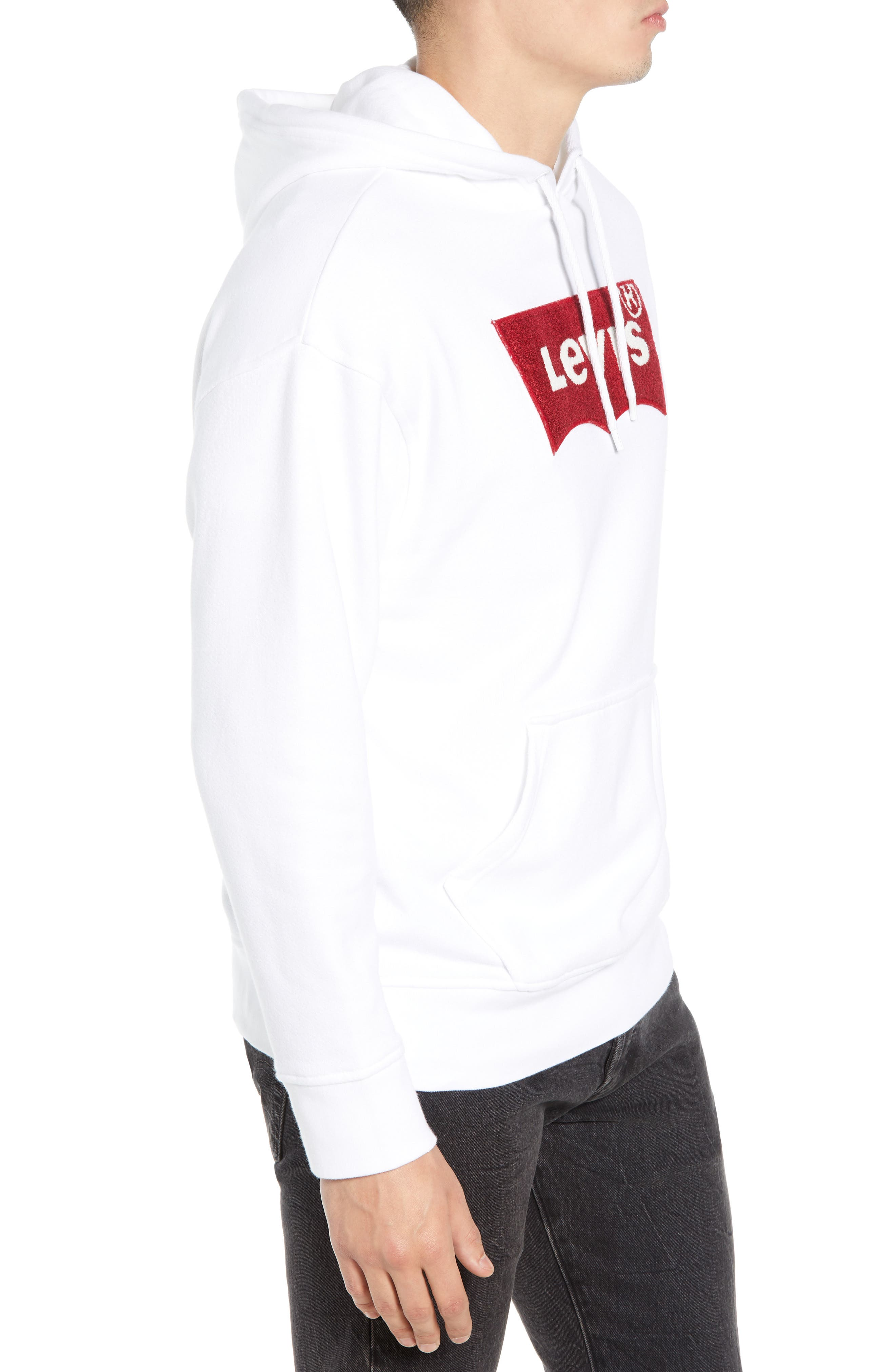 LEVI'S<SUP>®</SUP>, Oversize Logo Graphic Hoodie, Alternate thumbnail 3, color, WHITE HOUSEMARK