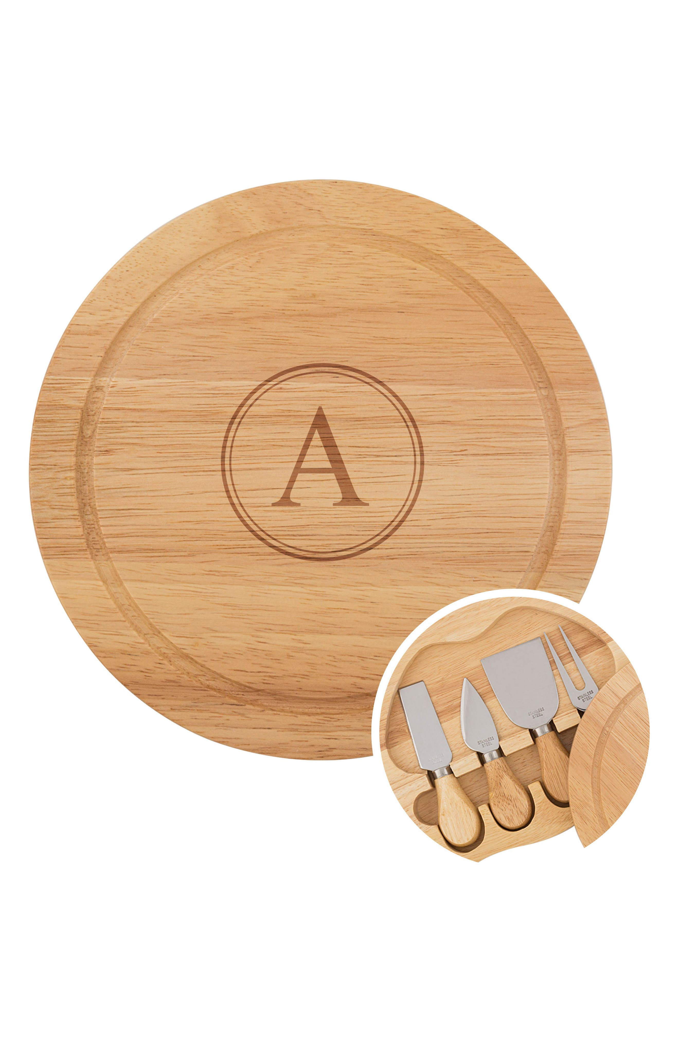 CATHY'S CONCEPTS, 5-Piece Monogram Cheese Board & Utensil Set, Alternate thumbnail 2, color, A