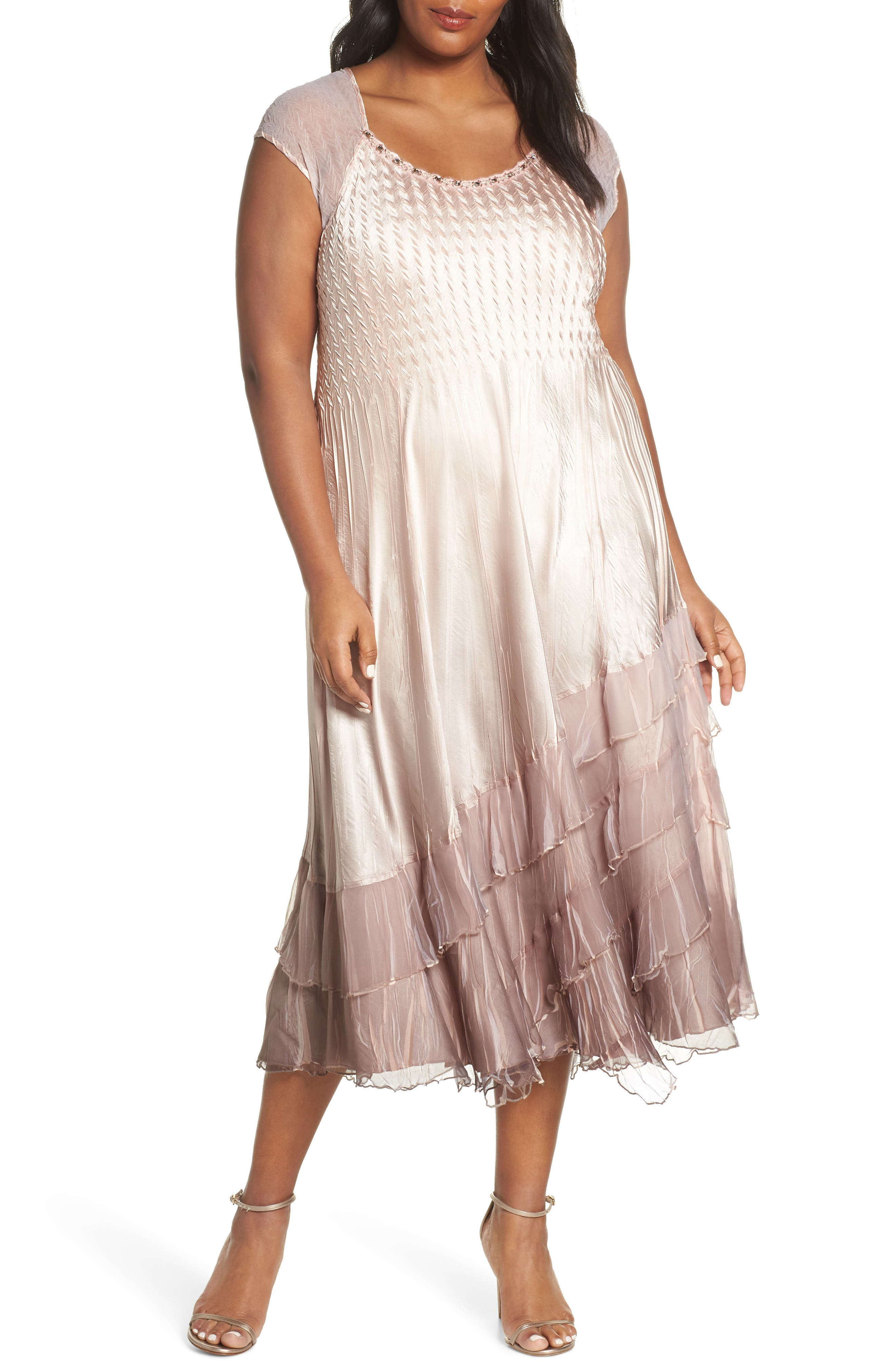 KOMAROV, Tiered Hem Ombré Dress with Jacket, Alternate thumbnail 4, color, VINTAGE ROSE WITH CAFE OMBRE