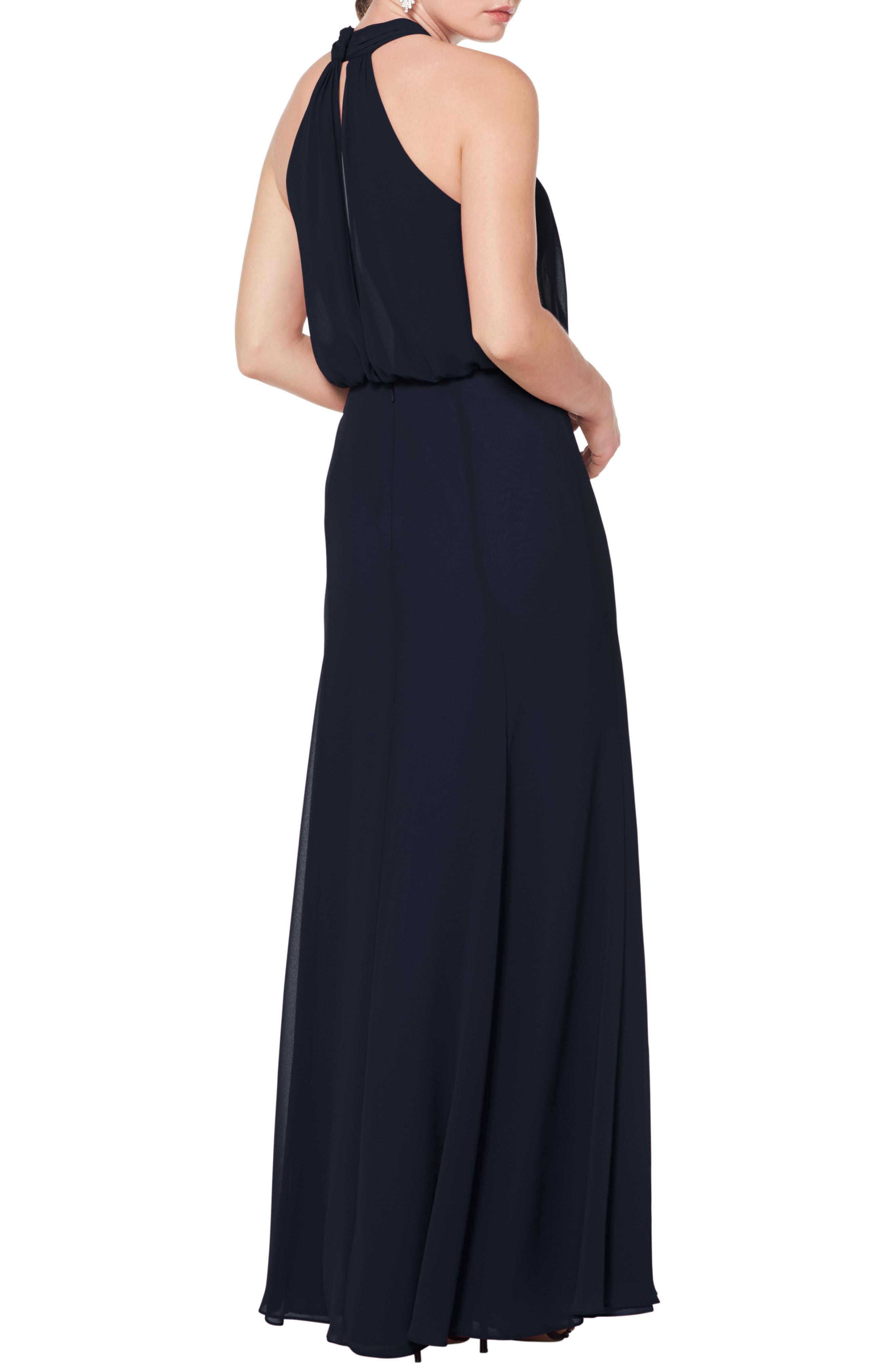 #LEVKOFF, Halter Neck Blouson Bodice Evening Dress, Alternate thumbnail 2, color, NAVY