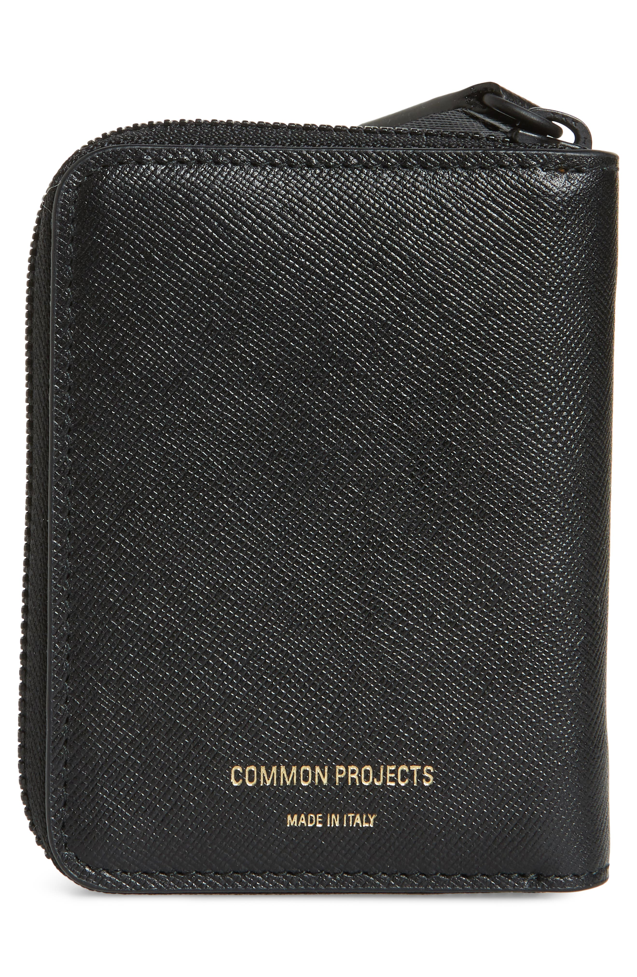 COMMON PROJECTS, Saffiano Zip Coin Case, Alternate thumbnail 3, color, 001