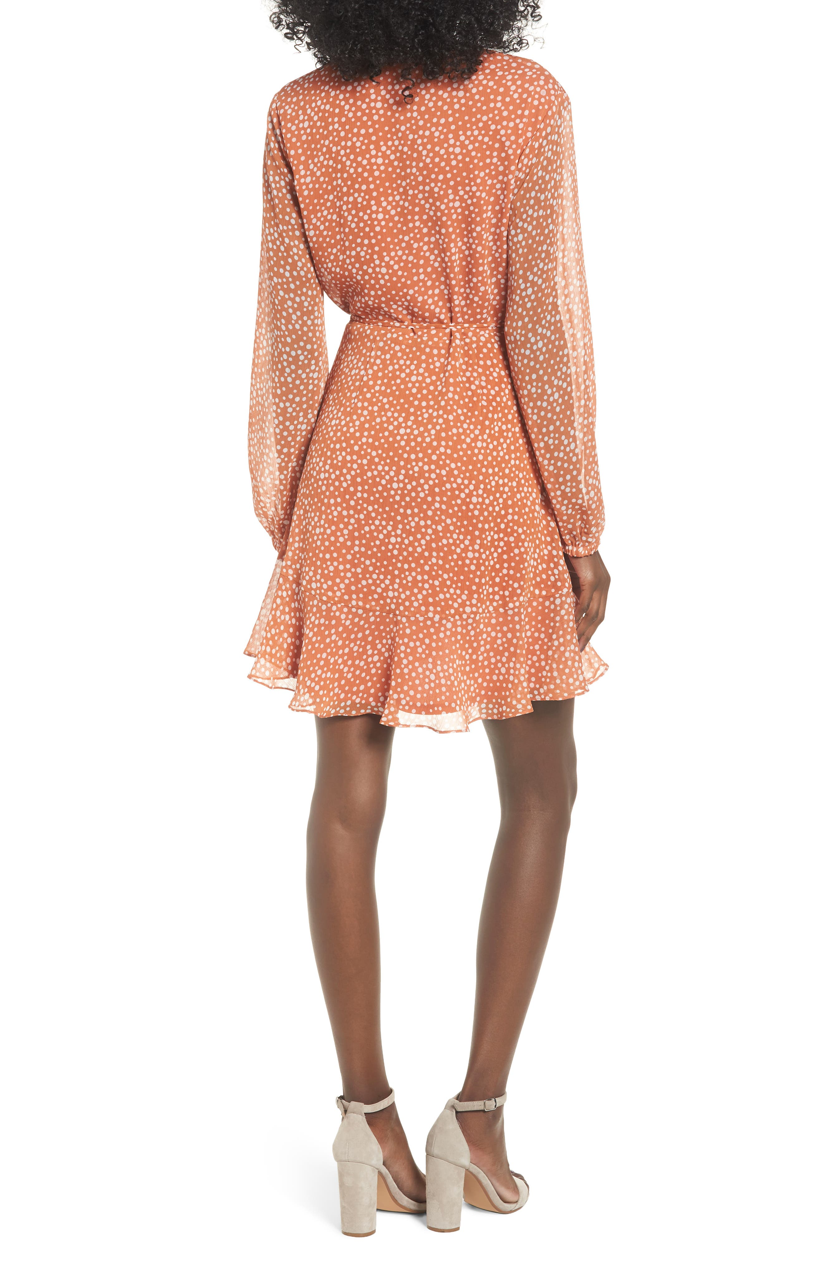 ALL IN FAVOR, Brittany Wrap Minidress, Alternate thumbnail 2, color, RUST DOT