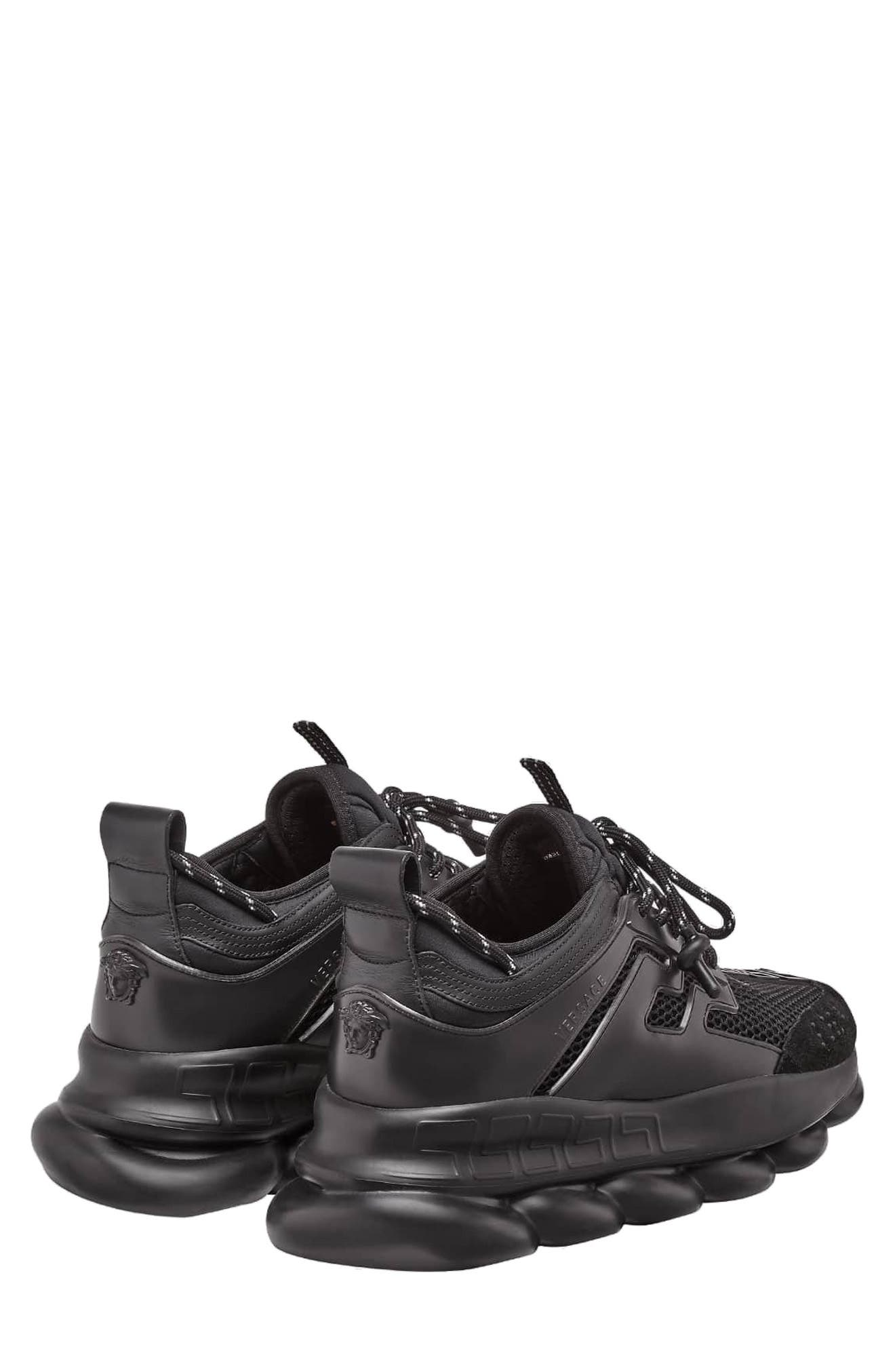 VERSACE FIRST LINE, Versace Chain Reaction Sneaker, Alternate thumbnail 2, color, NERO