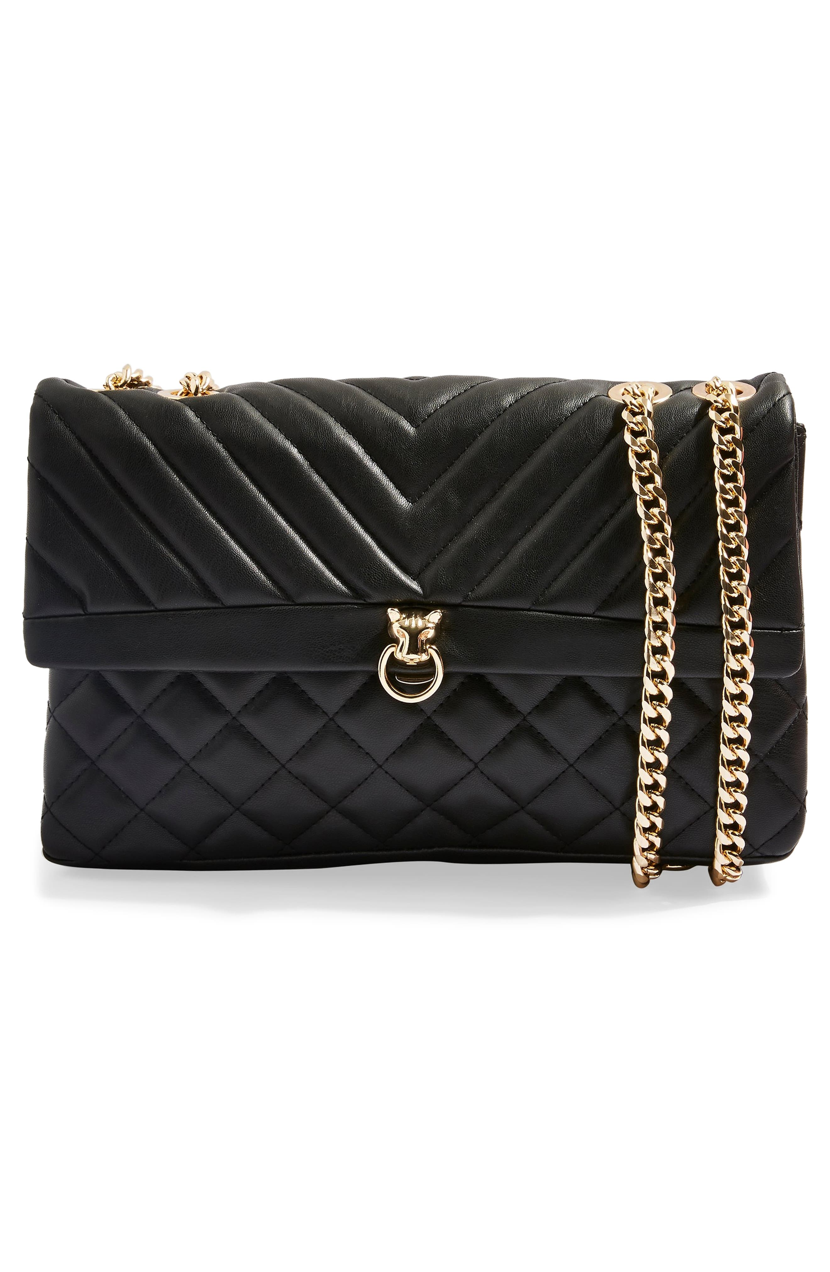 TOPSHOP, Panther Quilted Faux Leather Shoulder Bag, Alternate thumbnail 4, color, 001
