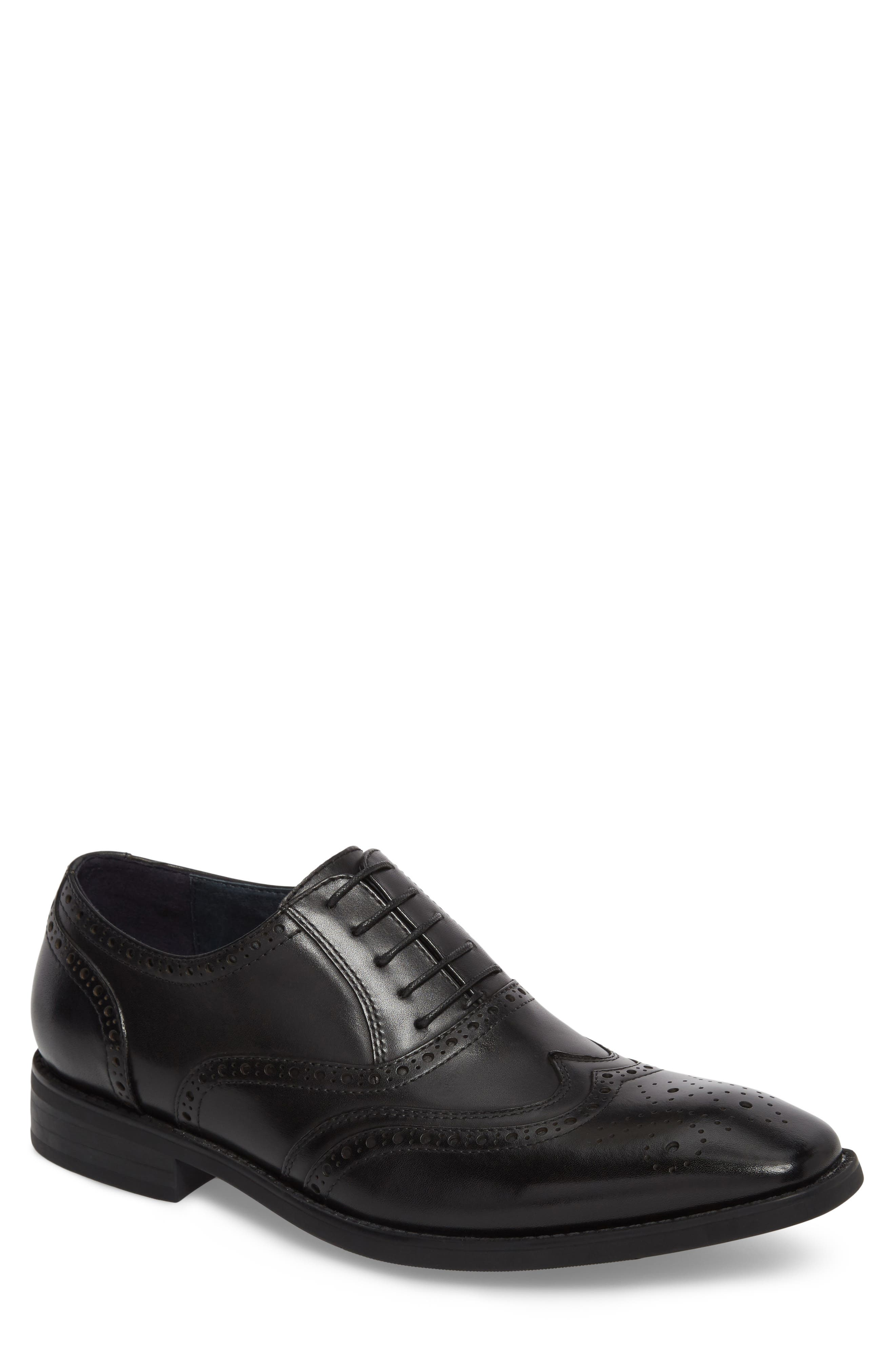 JUMP, Lindsey Wingtip, Main thumbnail 1, color, BLACK LEATHER